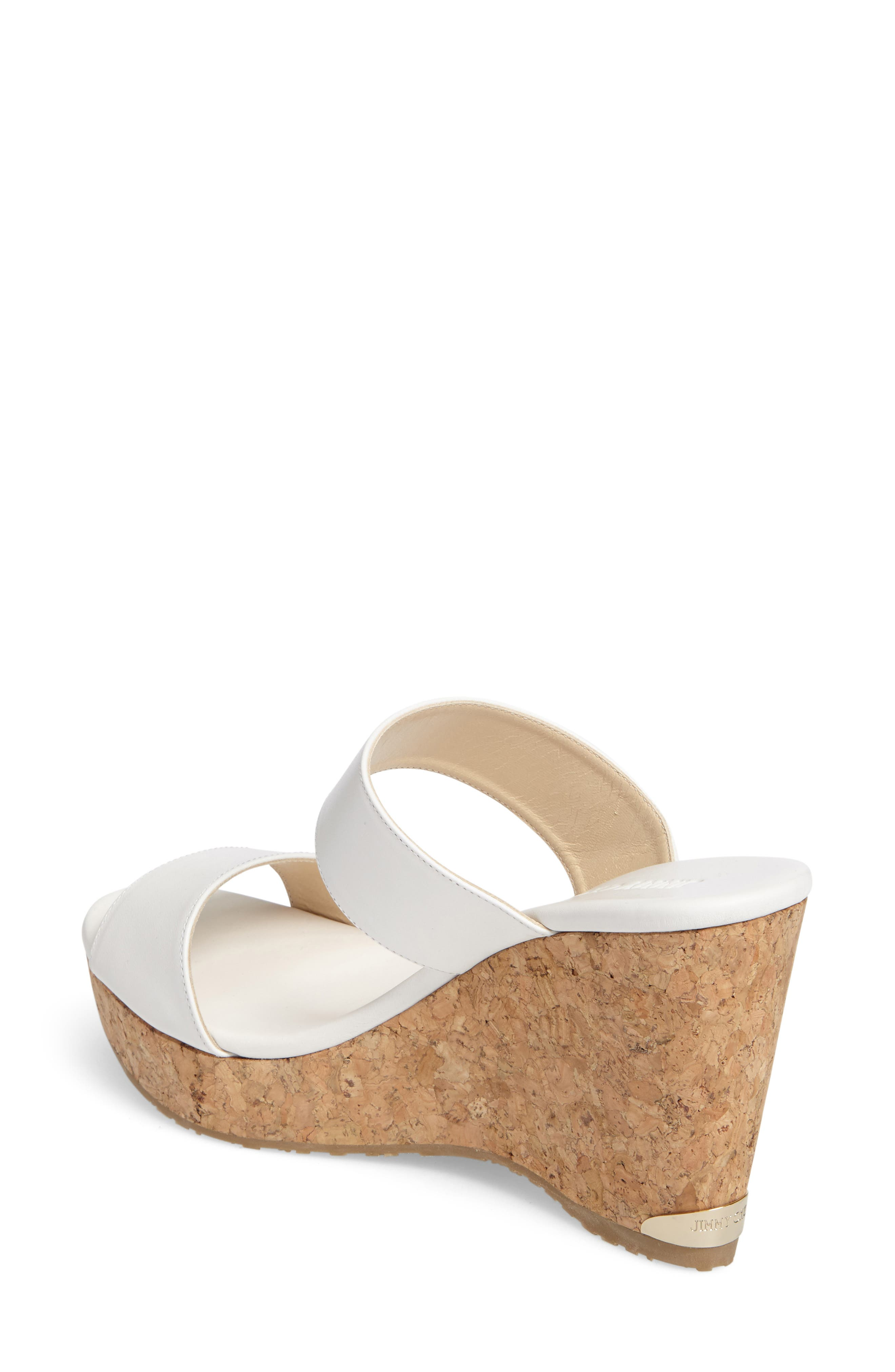 Parker Wedge Sandal,                             Alternate thumbnail 2, color,                             White Leather