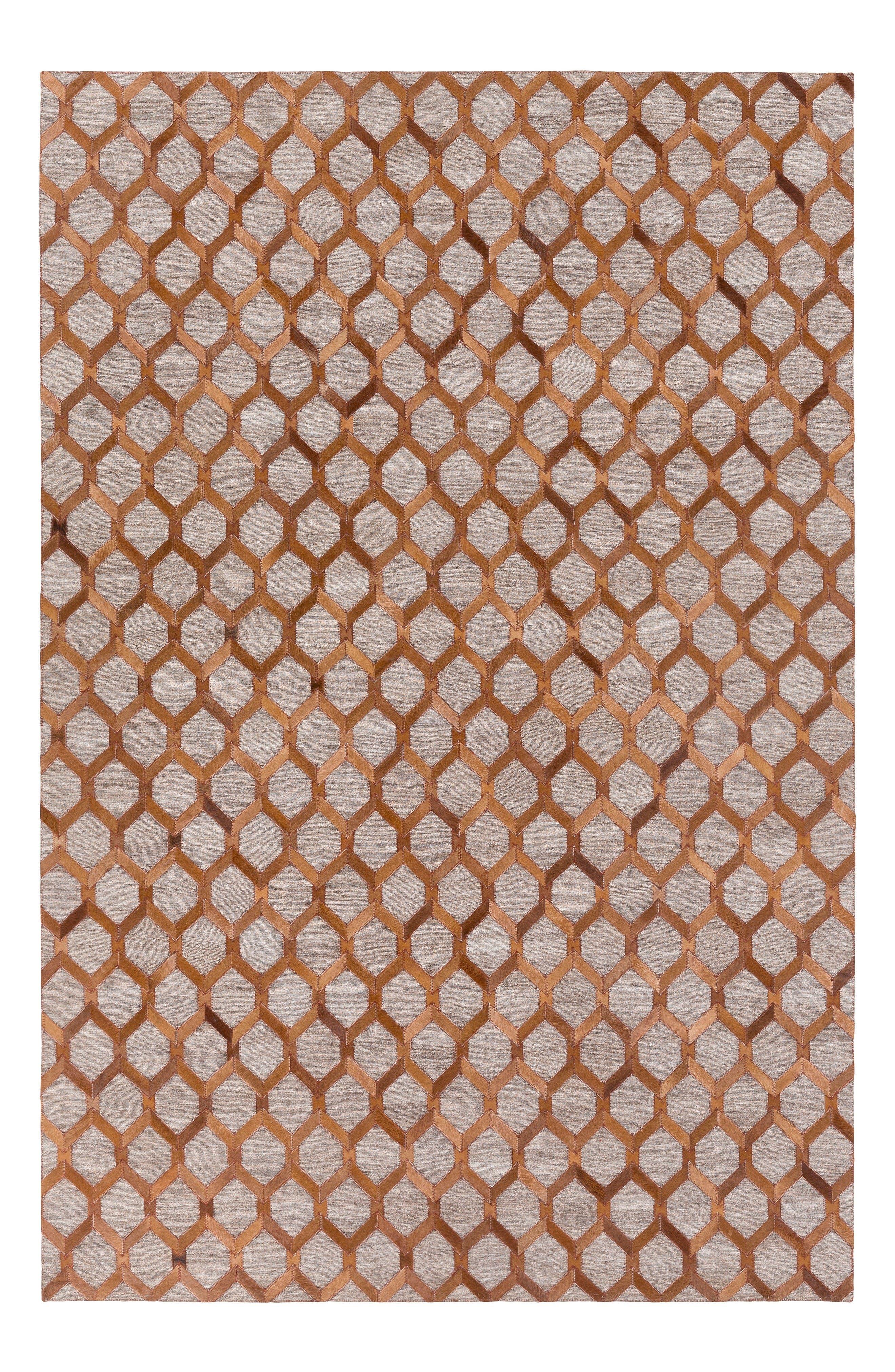 Medora Diamond Genuine Calf Hair Rug,                         Main,                         color, Brown