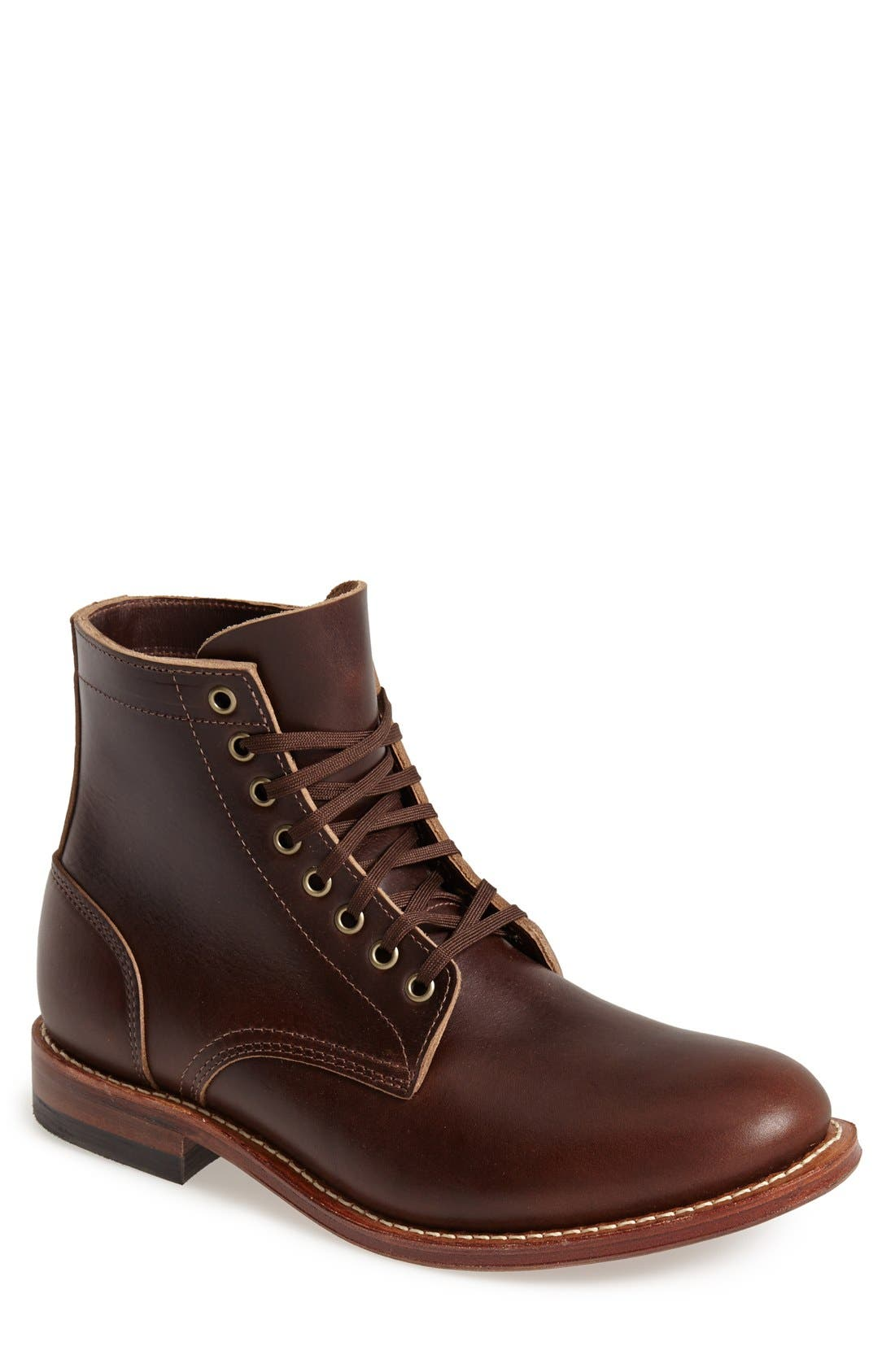 Plain Toe Trench Boot,                             Main thumbnail 1, color,                             Brown