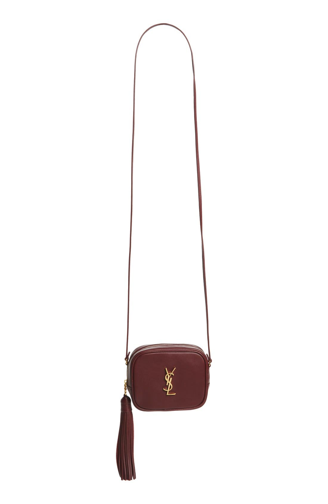 'Monogram Mini Blogger' Crossbody Bag,                             Main thumbnail 1, color,                             Rouge Legion/ Nero