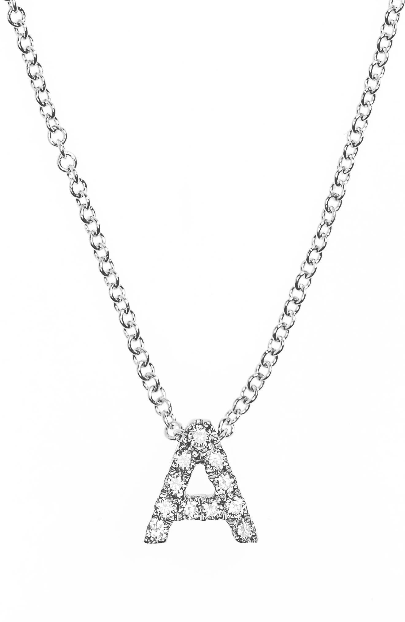 18k Gold Pavé Diamond Initial Pendant Necklace,                         Main,                         color, White Gold - A