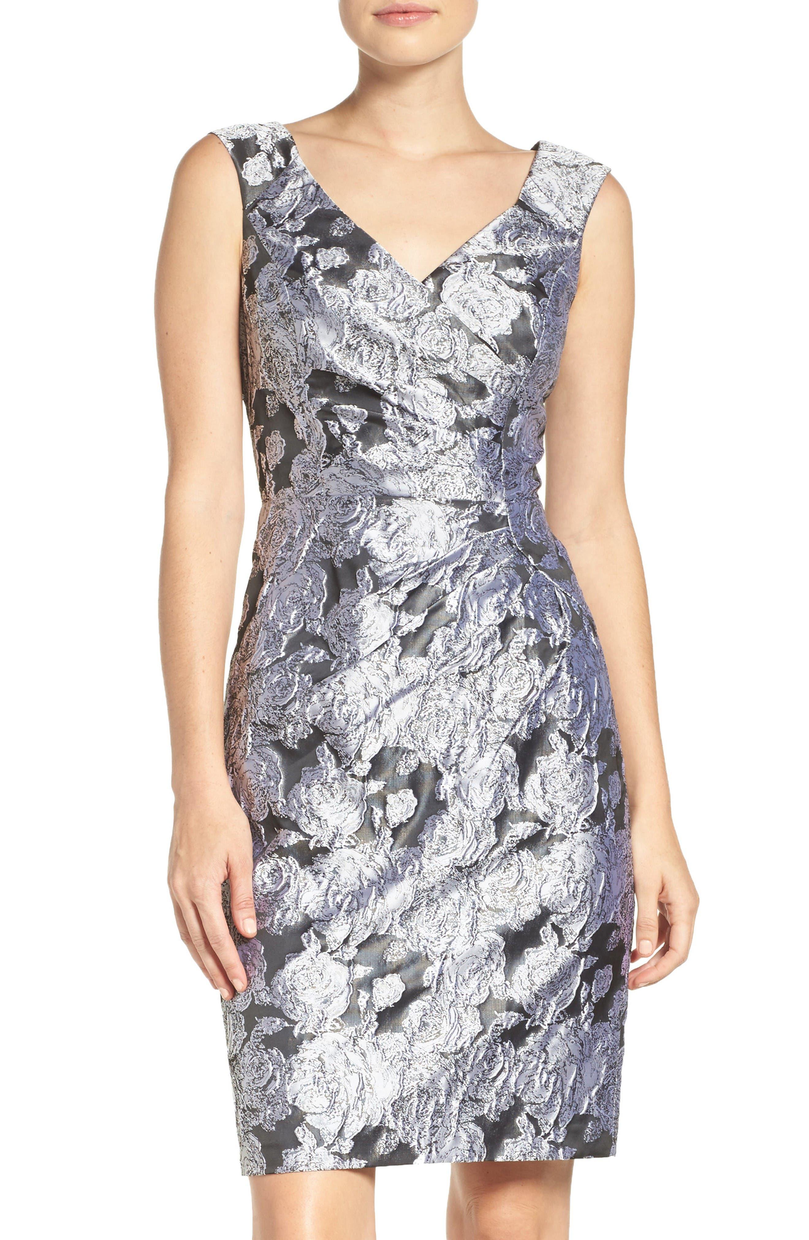 Main Image - Adrianna Papell Floral Jacquard Sheath Dress