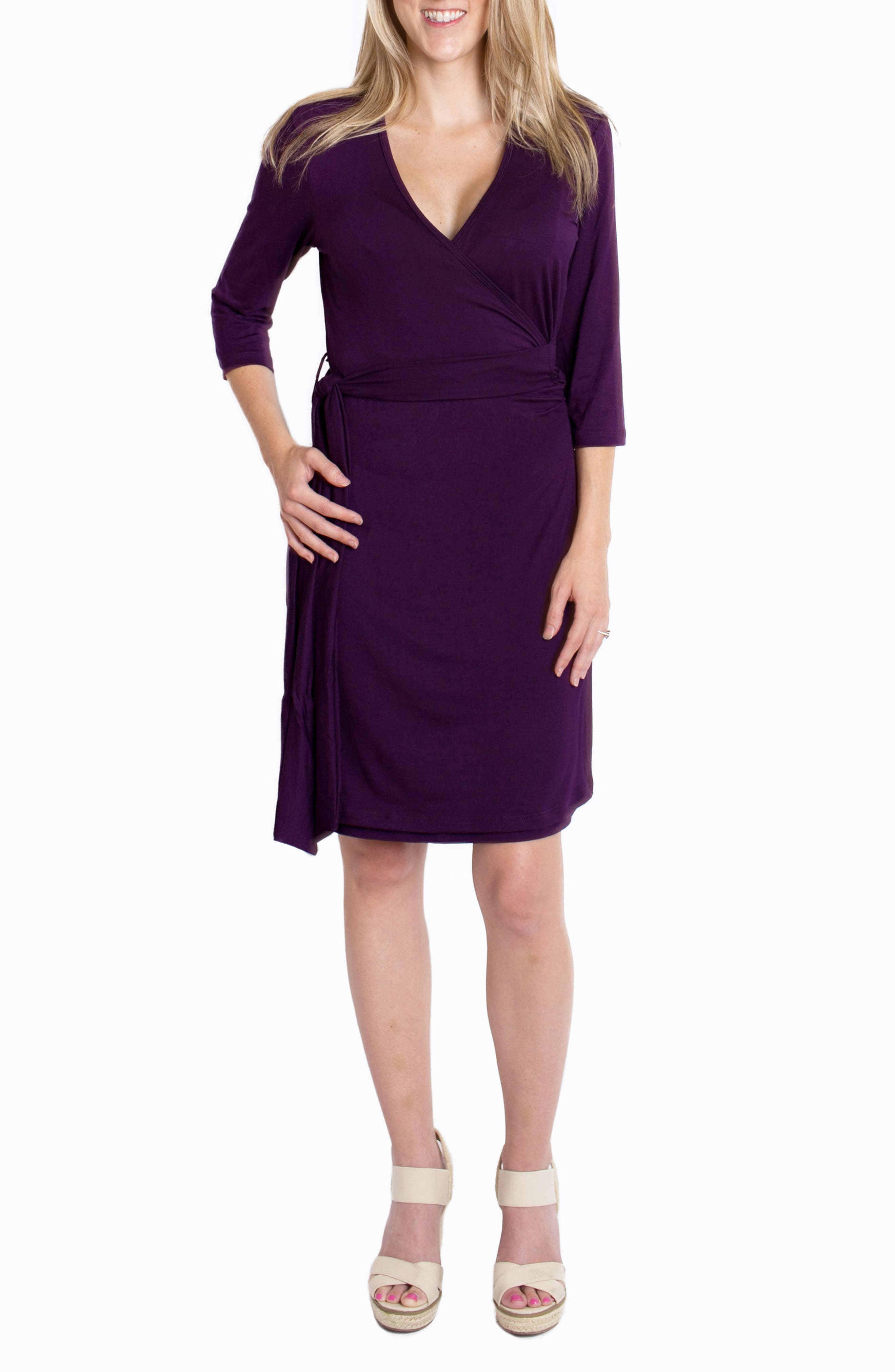 'Whimsical' Nursing Wrap Dress,                             Main thumbnail 1, color,                             Plum