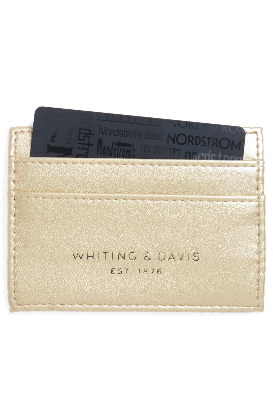 Faux Leather & Mesh Card Case,                             Alternate thumbnail 2, color,                             Gold