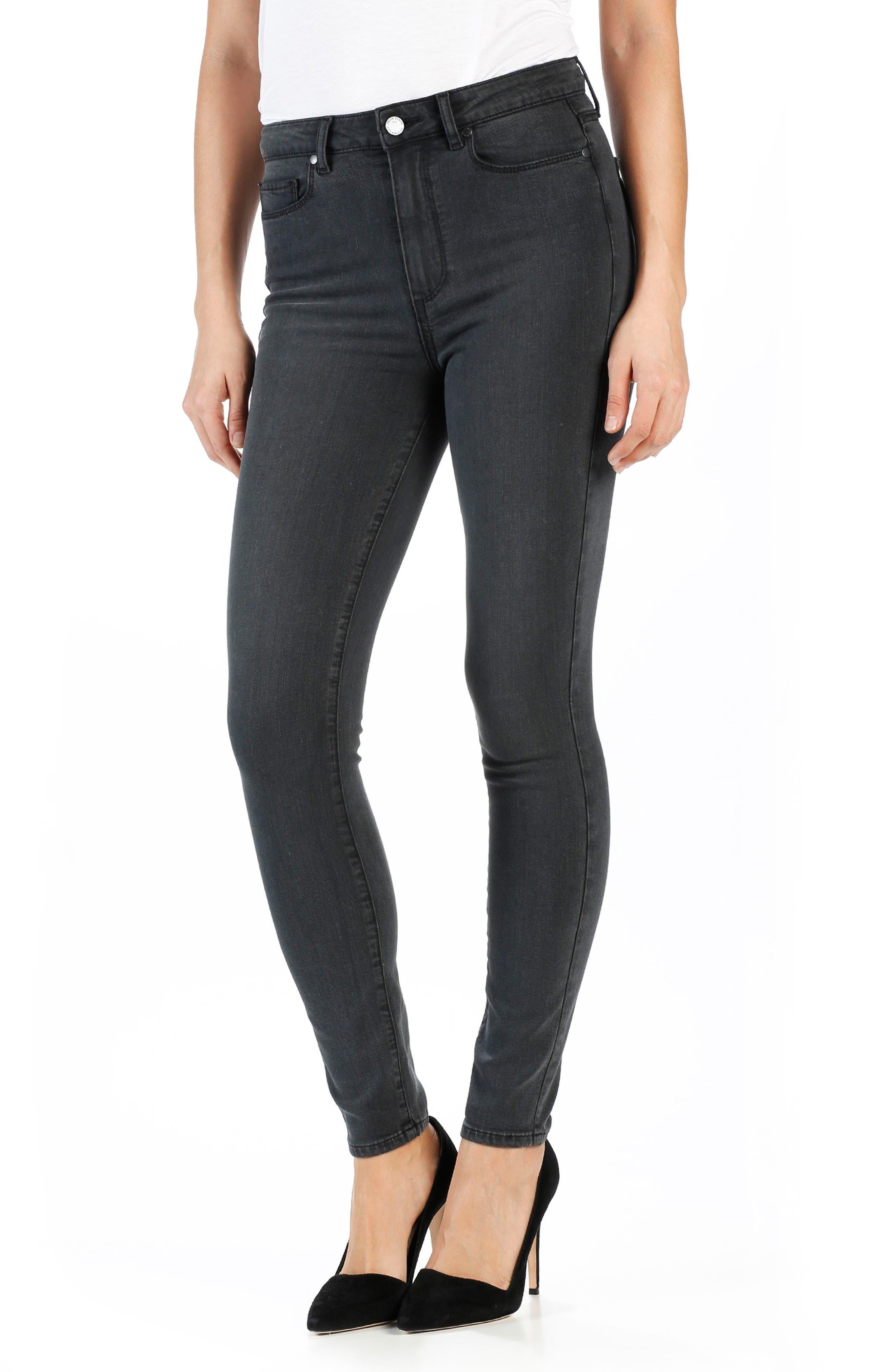 PAIGE Transcend - Margot High Rise Ultra Skinny Jeans (Smoke Grey)