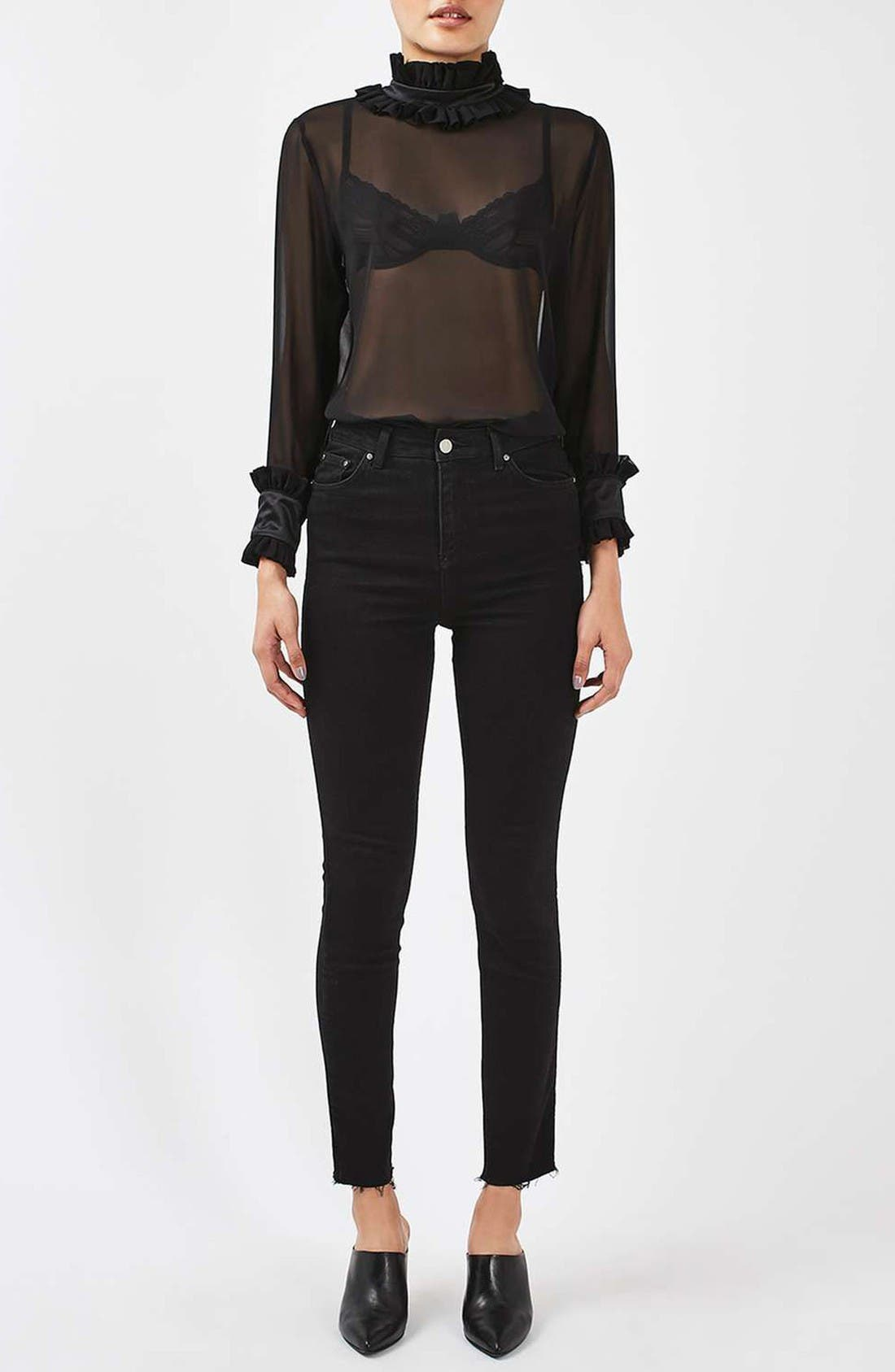 Alternate Image 2  - Topshop Boutique Hagen Sheer Silk Blouse