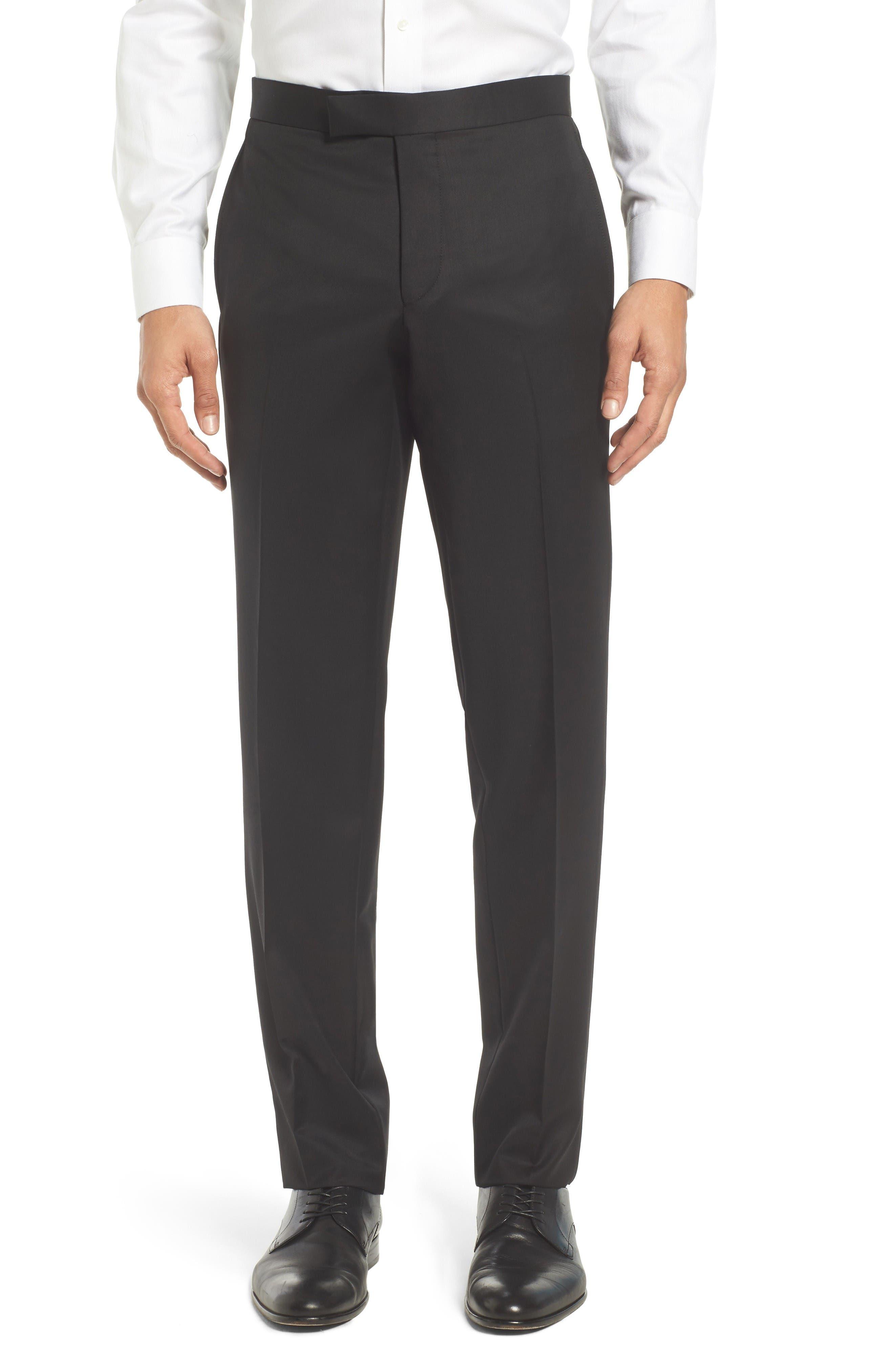 Josh Flat Front Wool & Mohair Tuxedo Pants,                         Main,                         color, Black