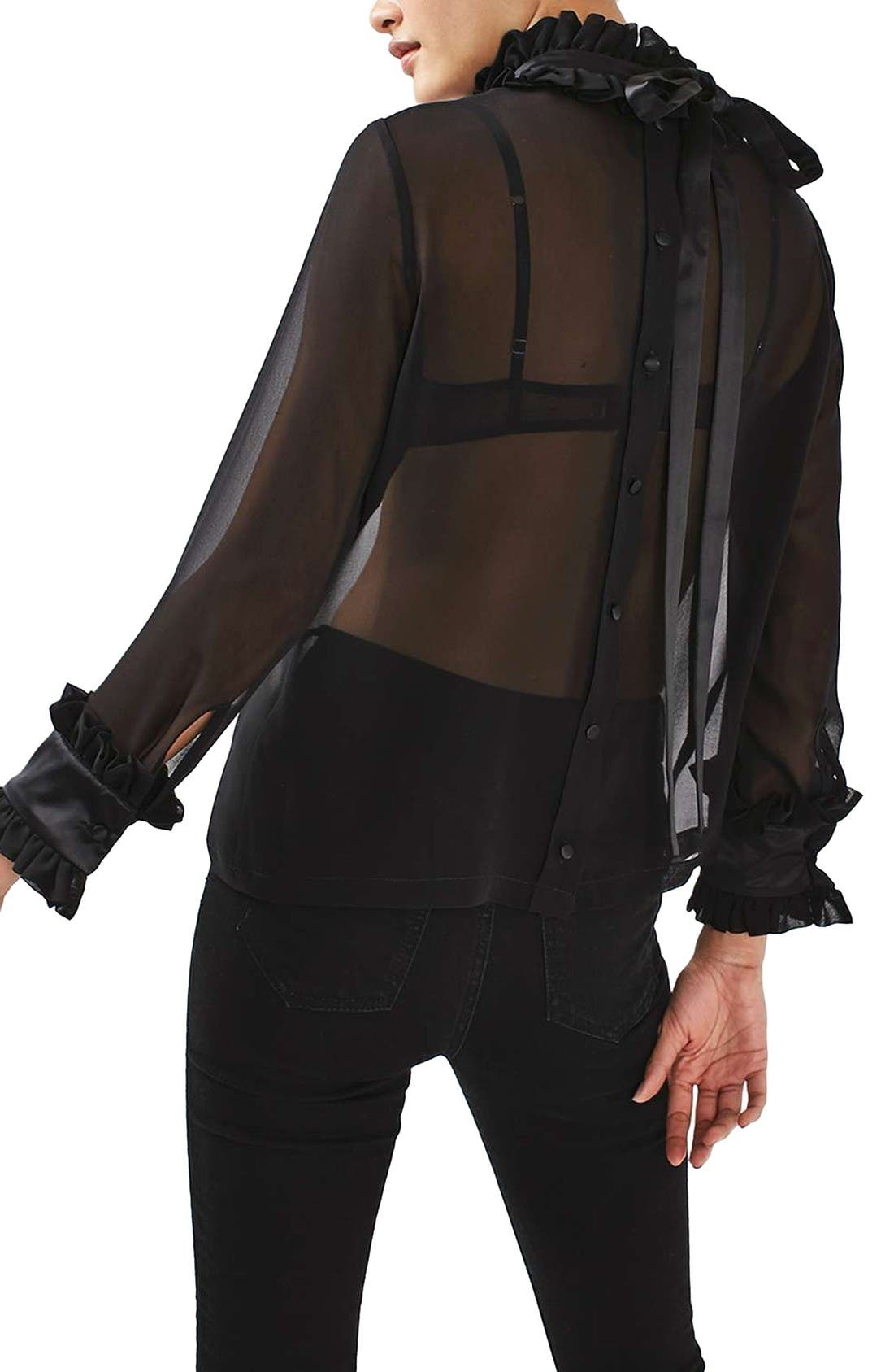 Hagen Sheer Silk Blouse,                             Alternate thumbnail 5, color,                             Black