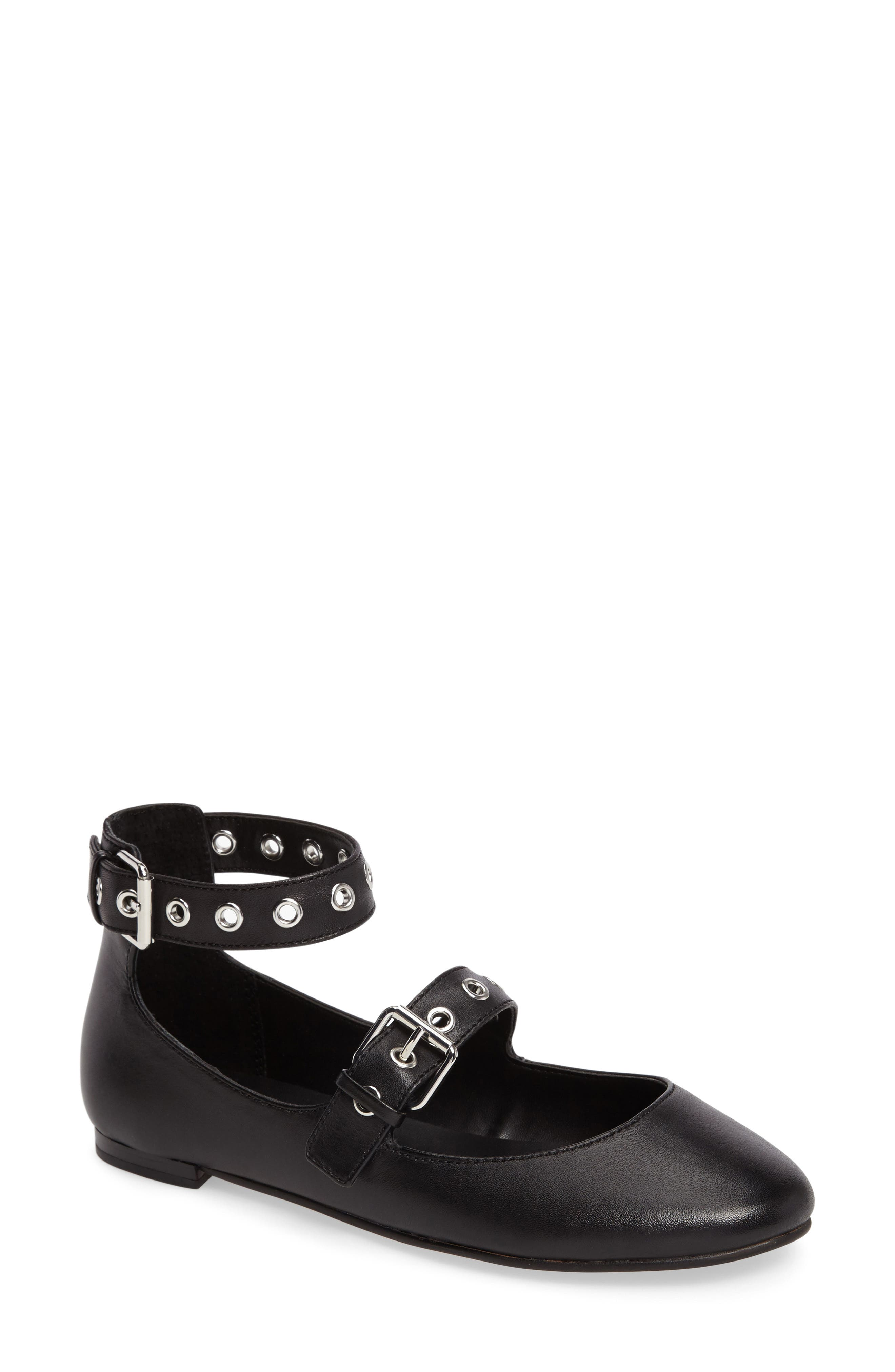Rachel Buckle Strap Flat,                         Main,                         color, Black Shiny Calf