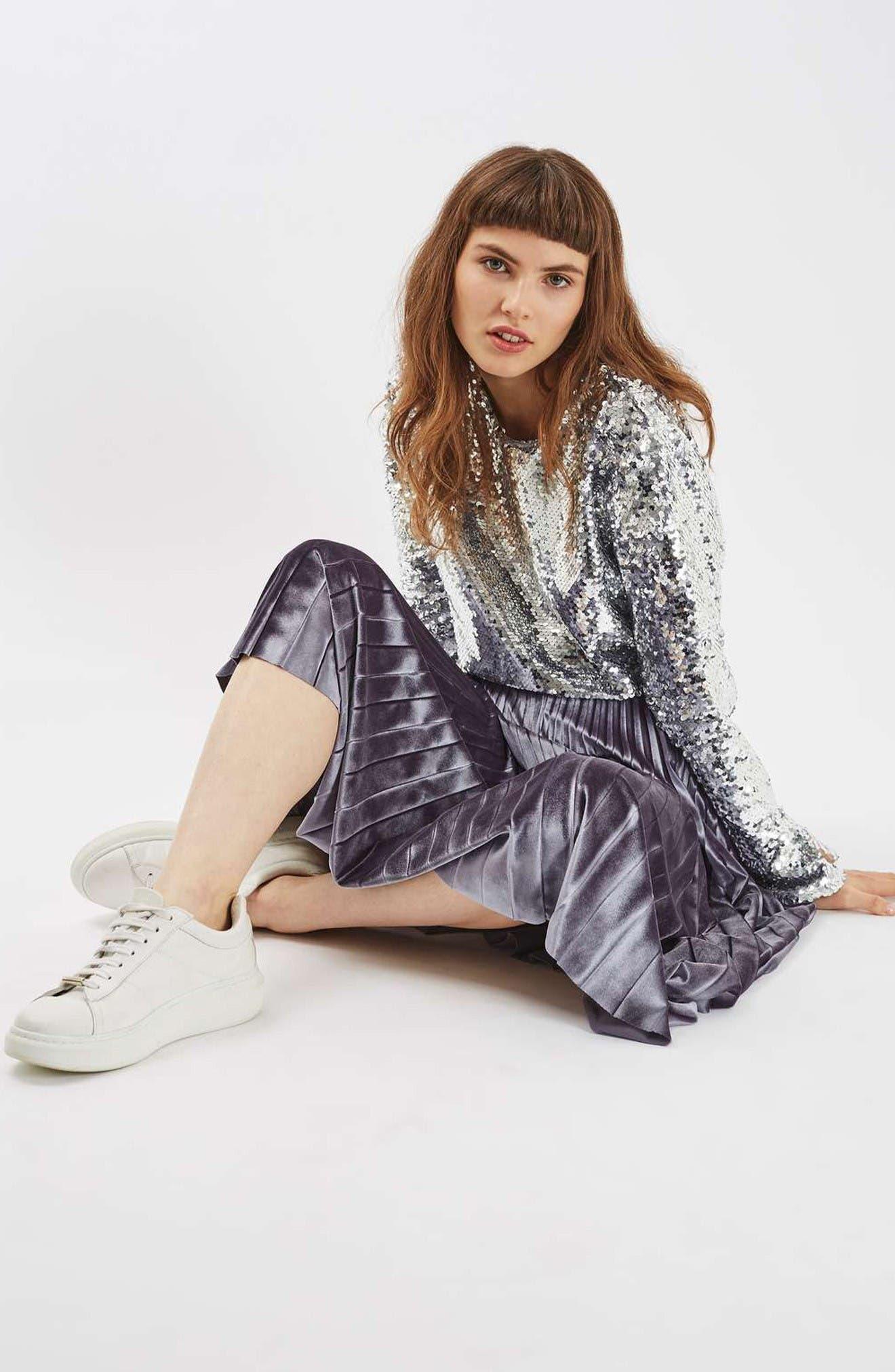 Alternate Image 2  - Topshop Velvet Pleated Midi Skirt