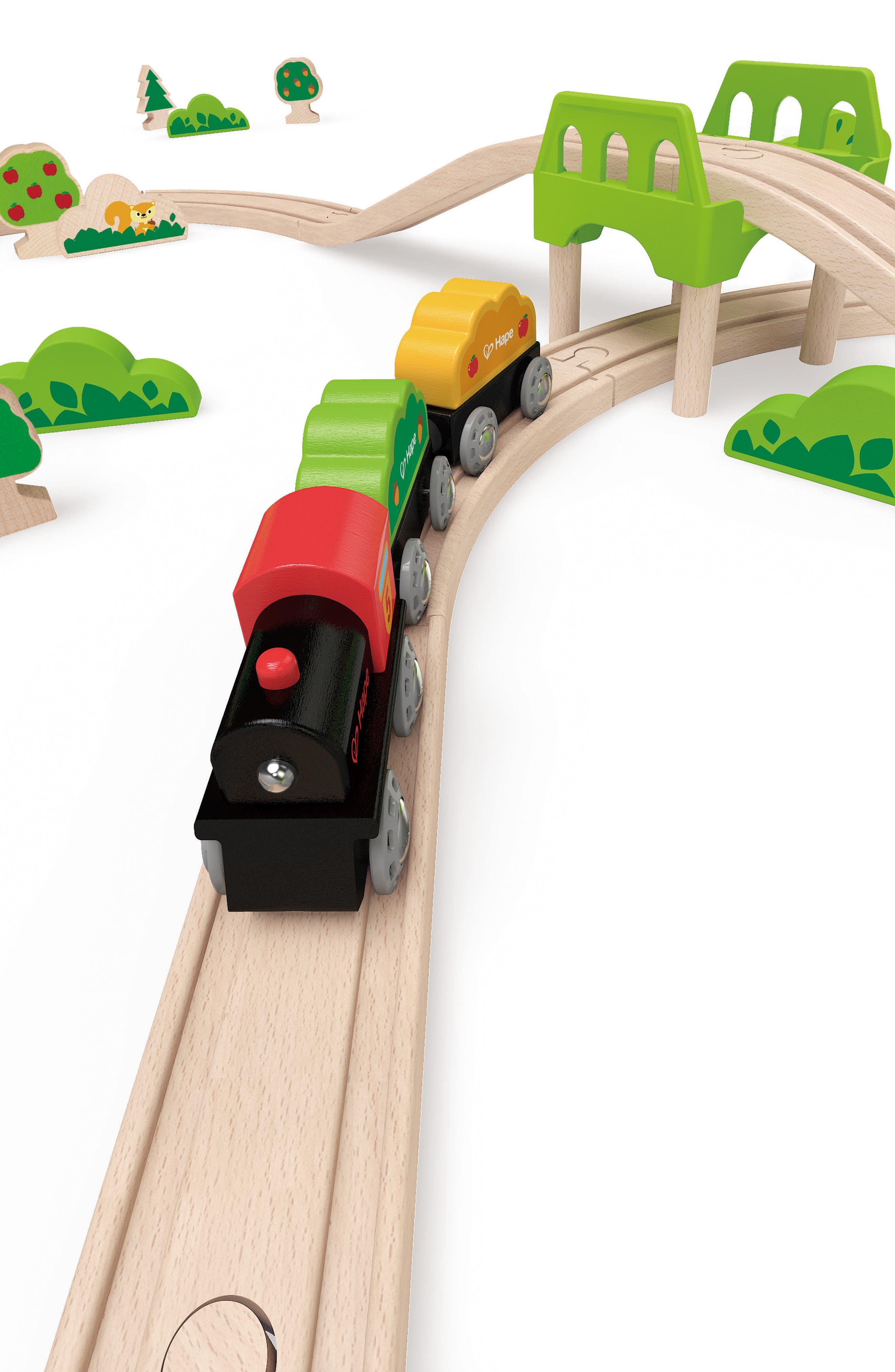 Double Loop Railway Wooden Train Set,                             Alternate thumbnail 7, color,                             Multi