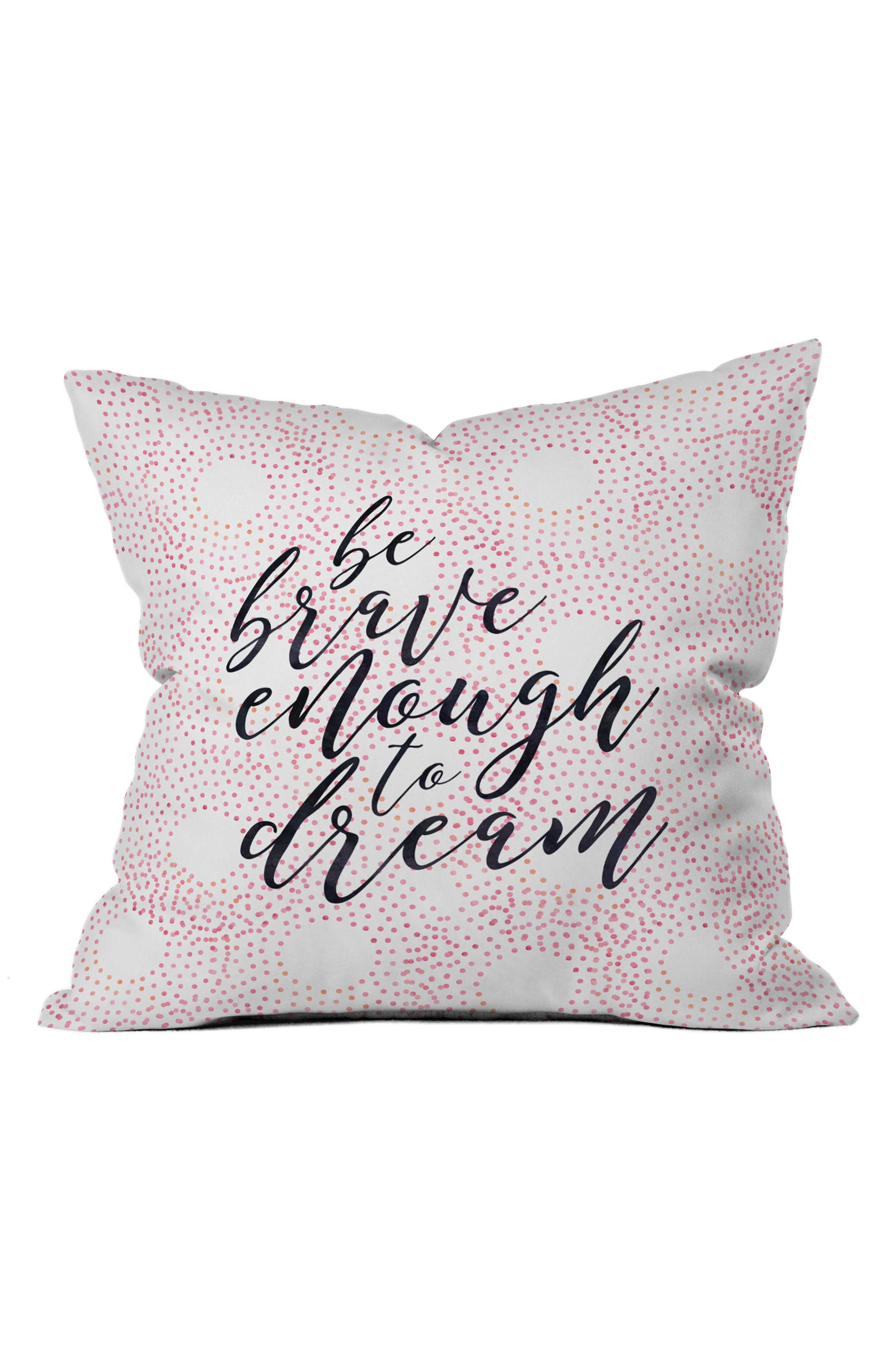Be Brave Pillow,                             Main thumbnail 1, color,                             Pink