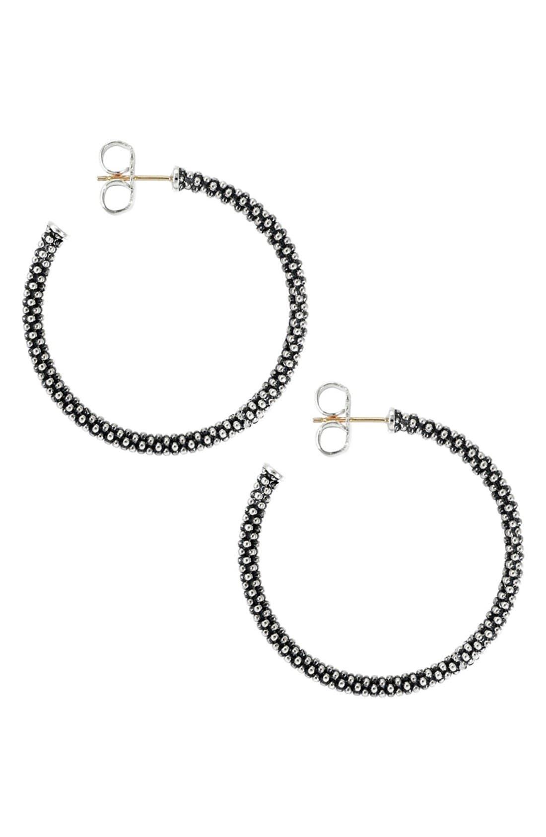 Medium Caviar Hoop Earrings,                             Alternate thumbnail 2, color,                             Sterling Silver