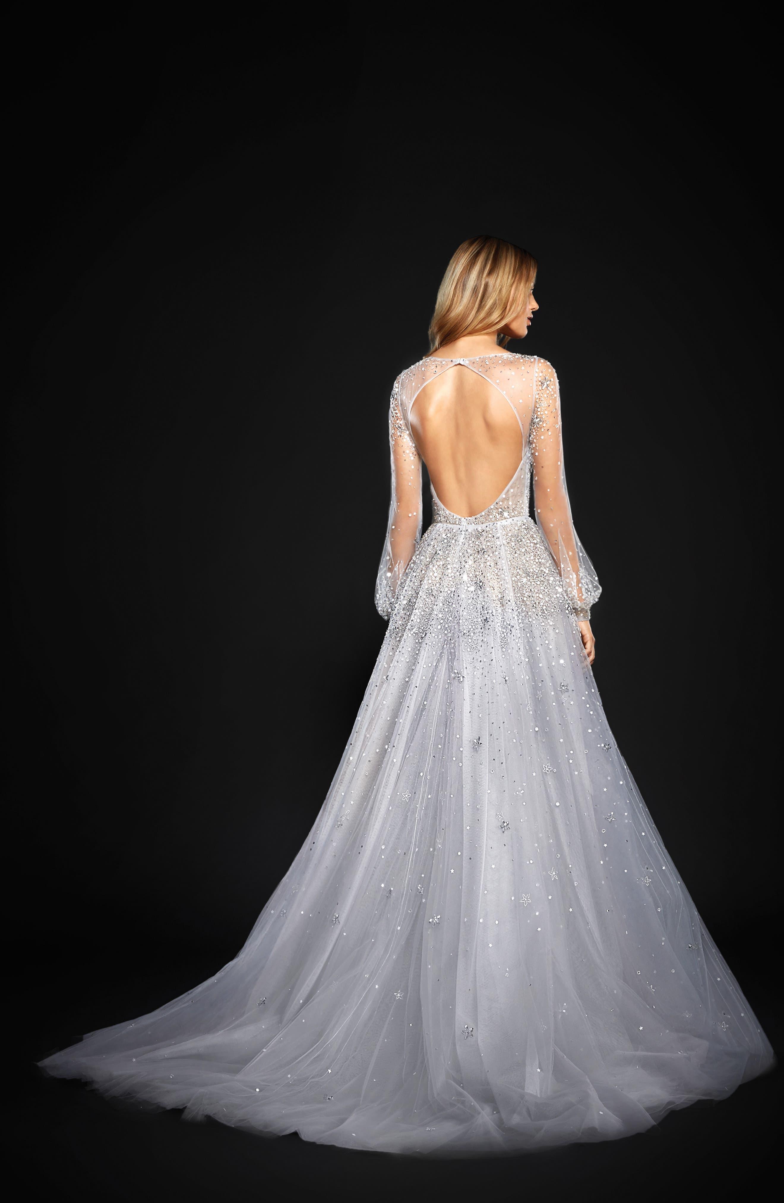 Alternate Image 2  - Hayley Paige Lumi Embellished Long Sleeve Tulle Ballgown