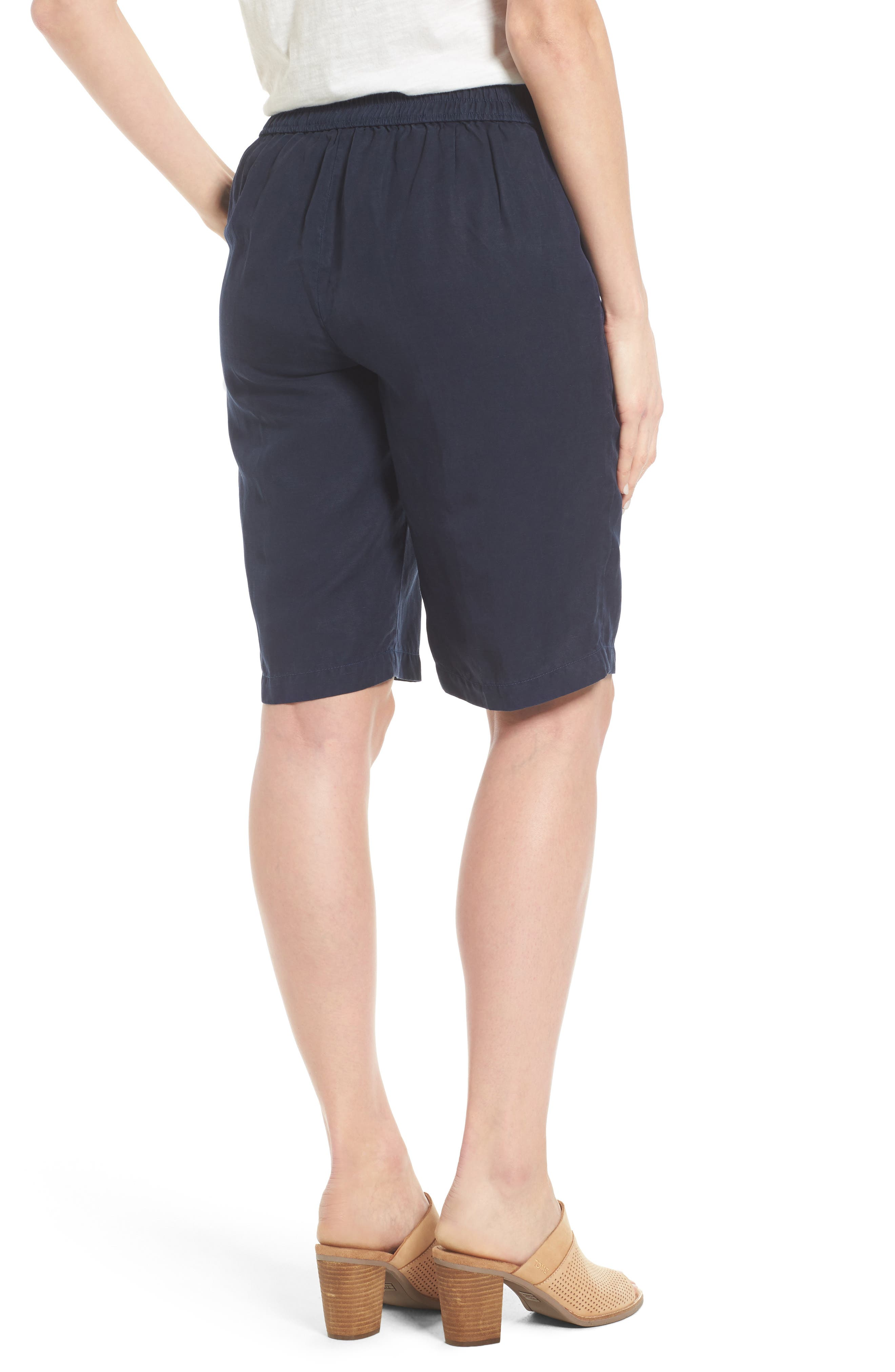 Tencel<sup>®</sup> Lyocell & Linen Walking Shorts,                             Alternate thumbnail 2, color,                             Midnight