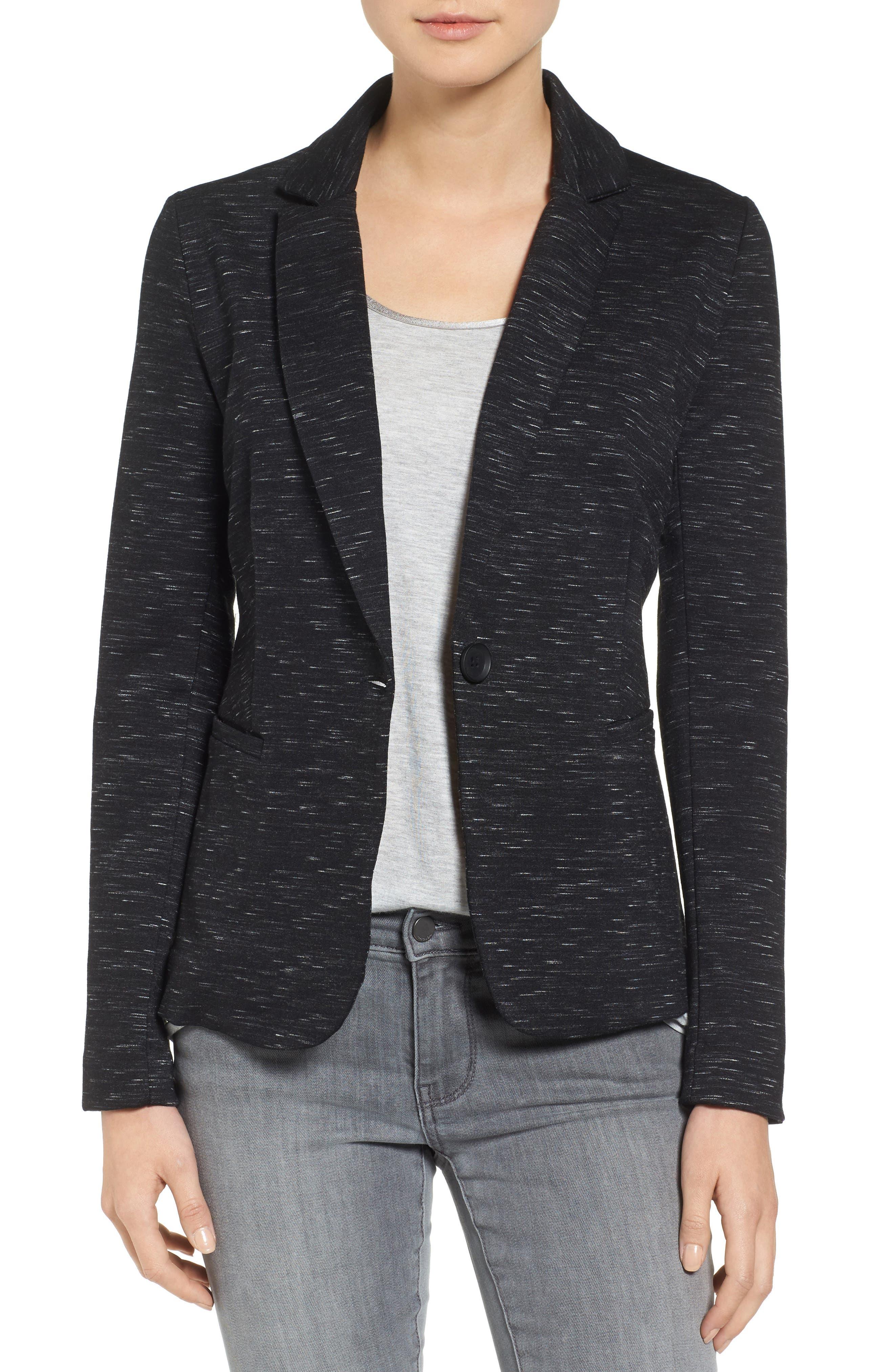 Knit Blazer,                         Main,                         color, Black Spacedye