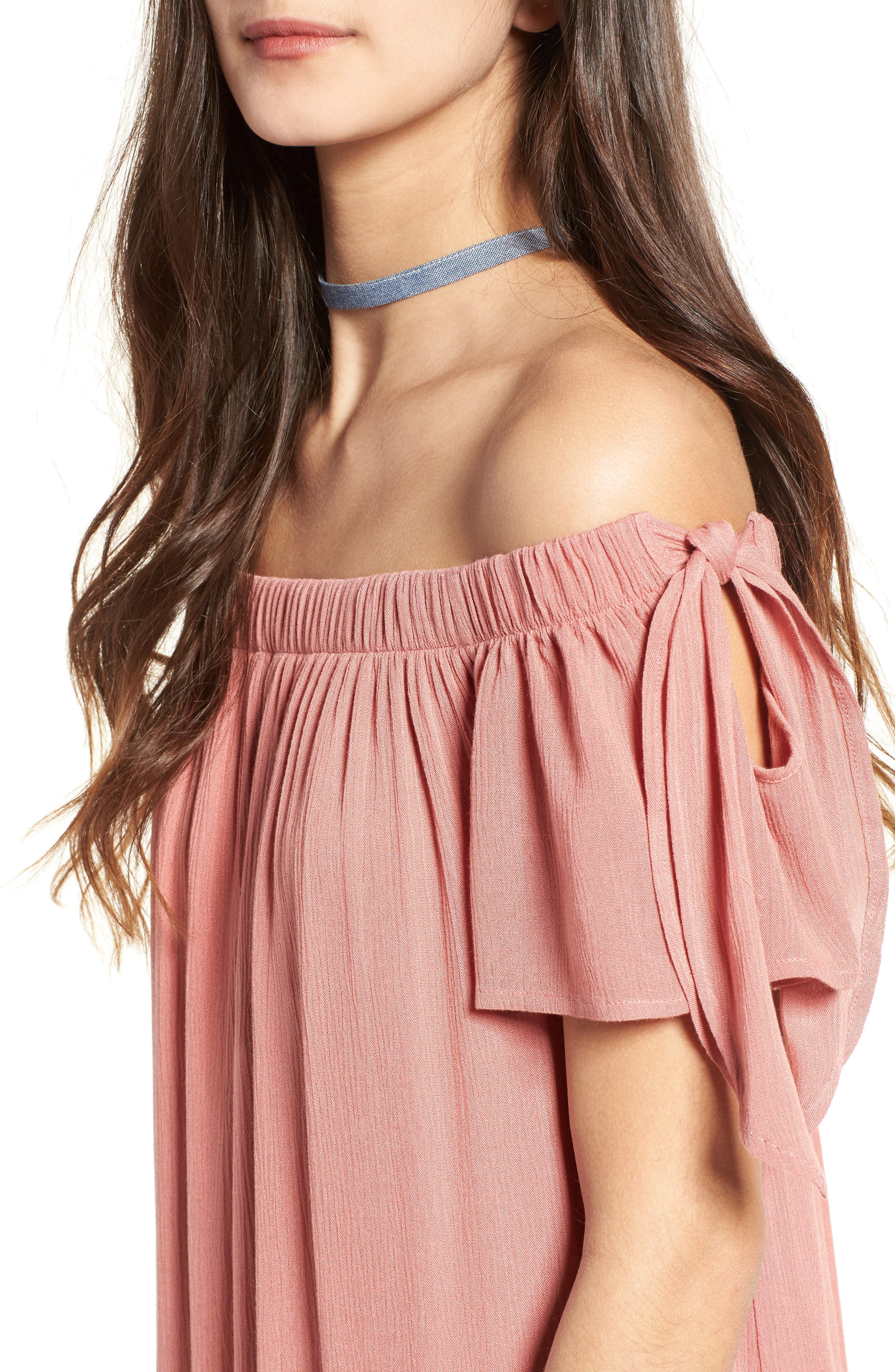 Alternate Image 4  - One Clothing Off the Shoulder Shift Dress