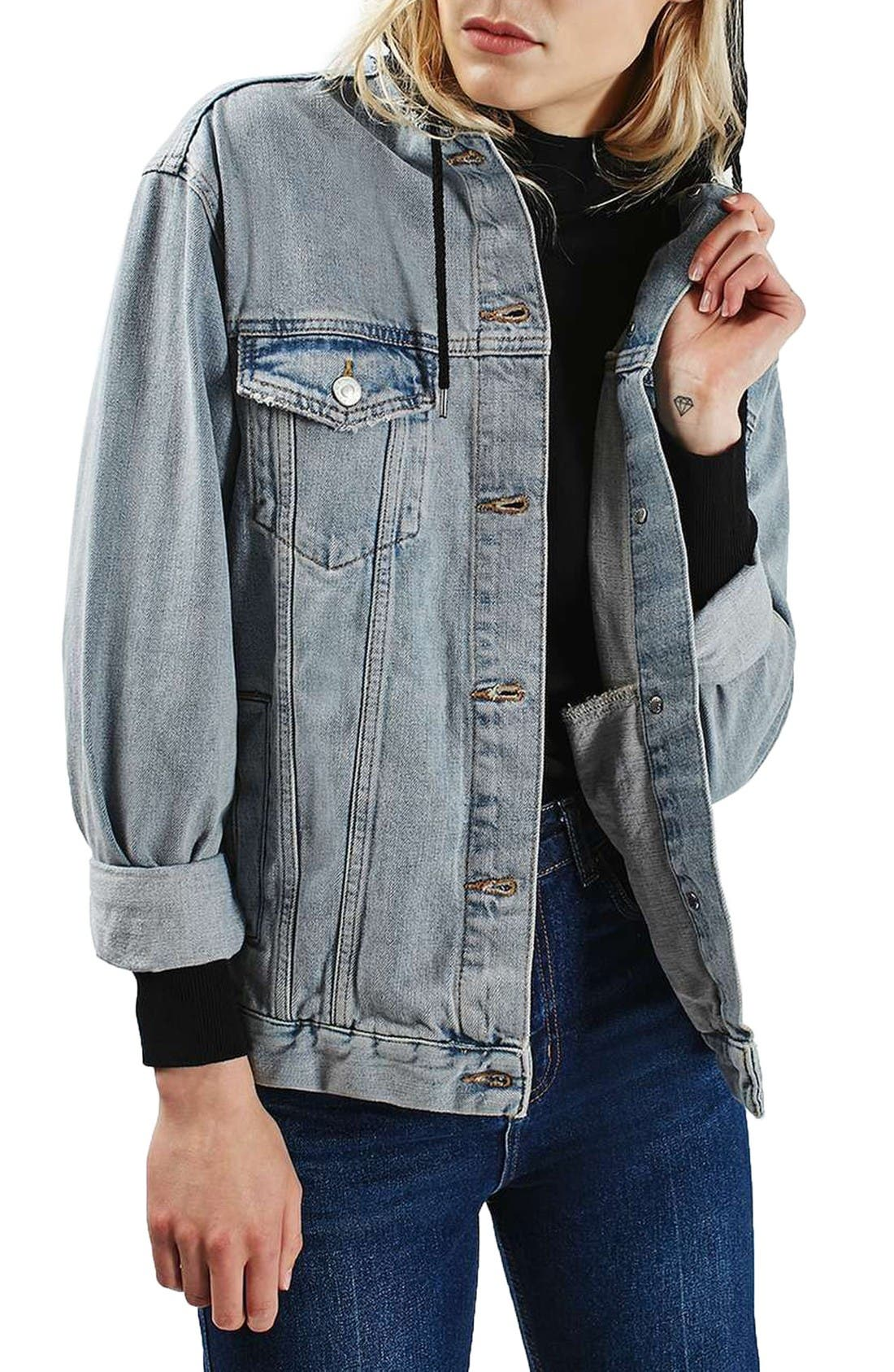 Alternate Image 1 Selected - Topshop Hooded Denim Jacket