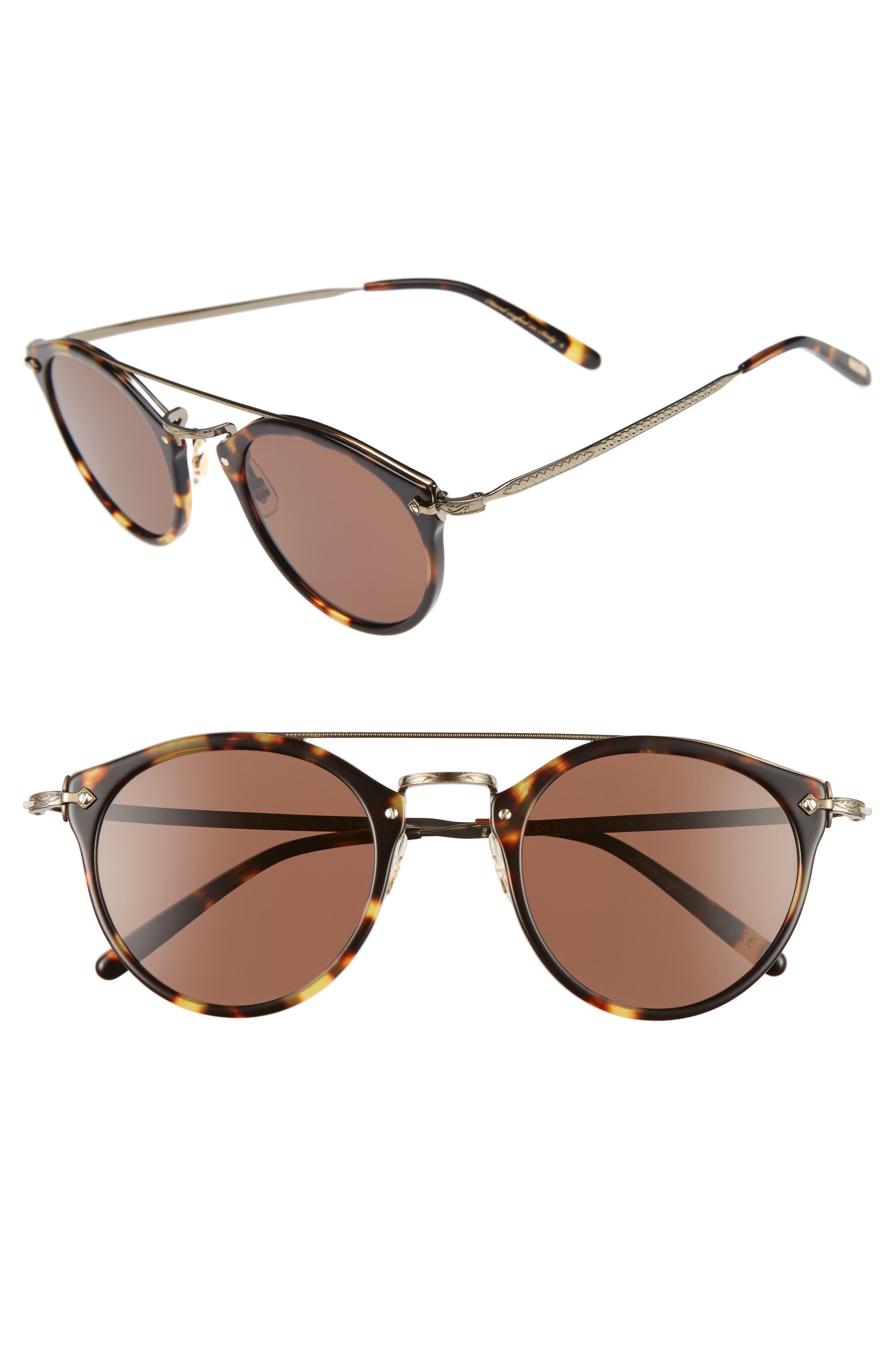 Remick 50mm Brow Bar Sunglasses,                             Main thumbnail 1, color,                             Dark Brown