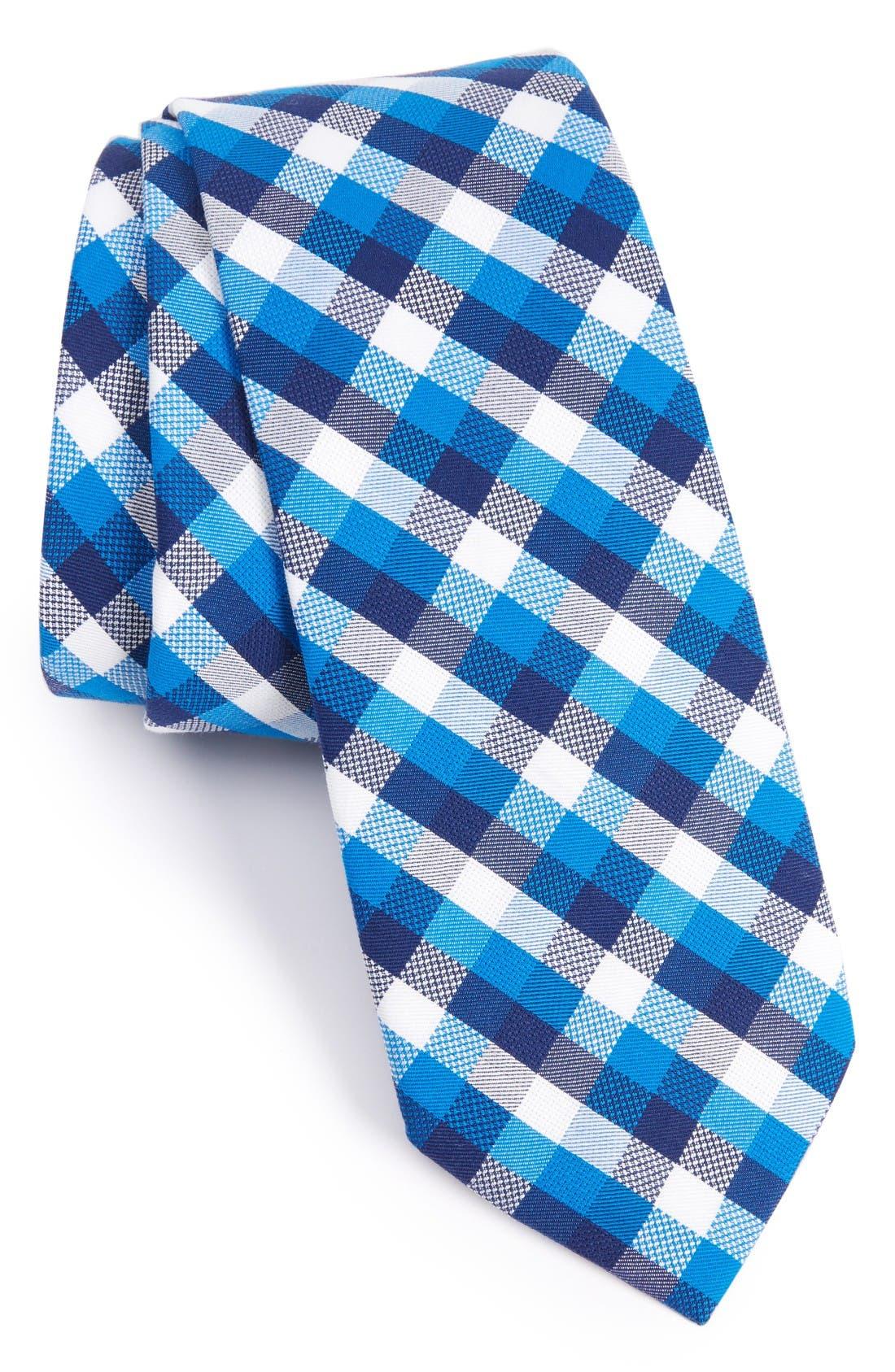 Scott Check Cotton Skinny Tie,                         Main,                         color, Blue