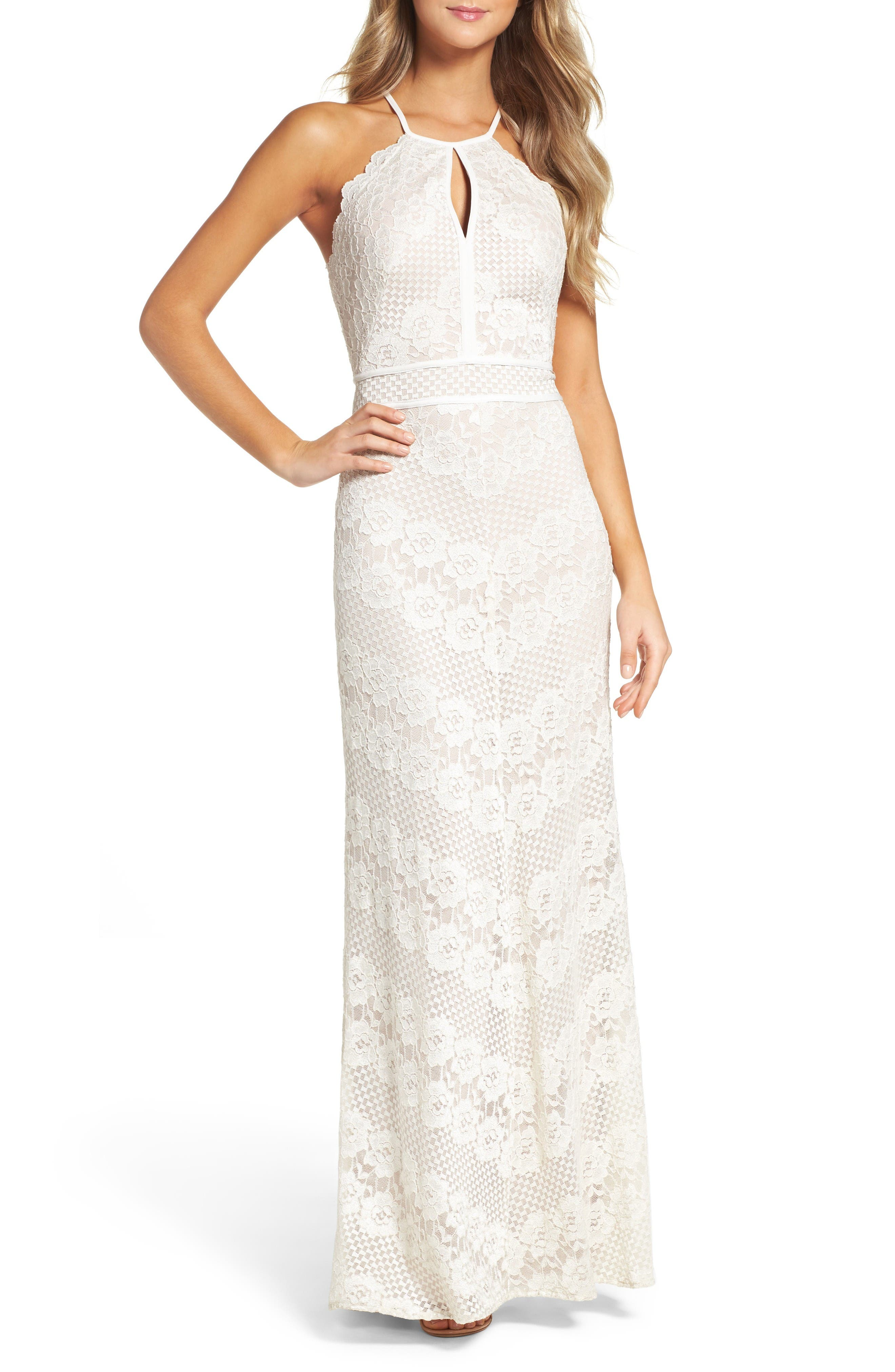 Crisscross Lace Gown,                             Main thumbnail 1, color,                             Ivory/ Nude