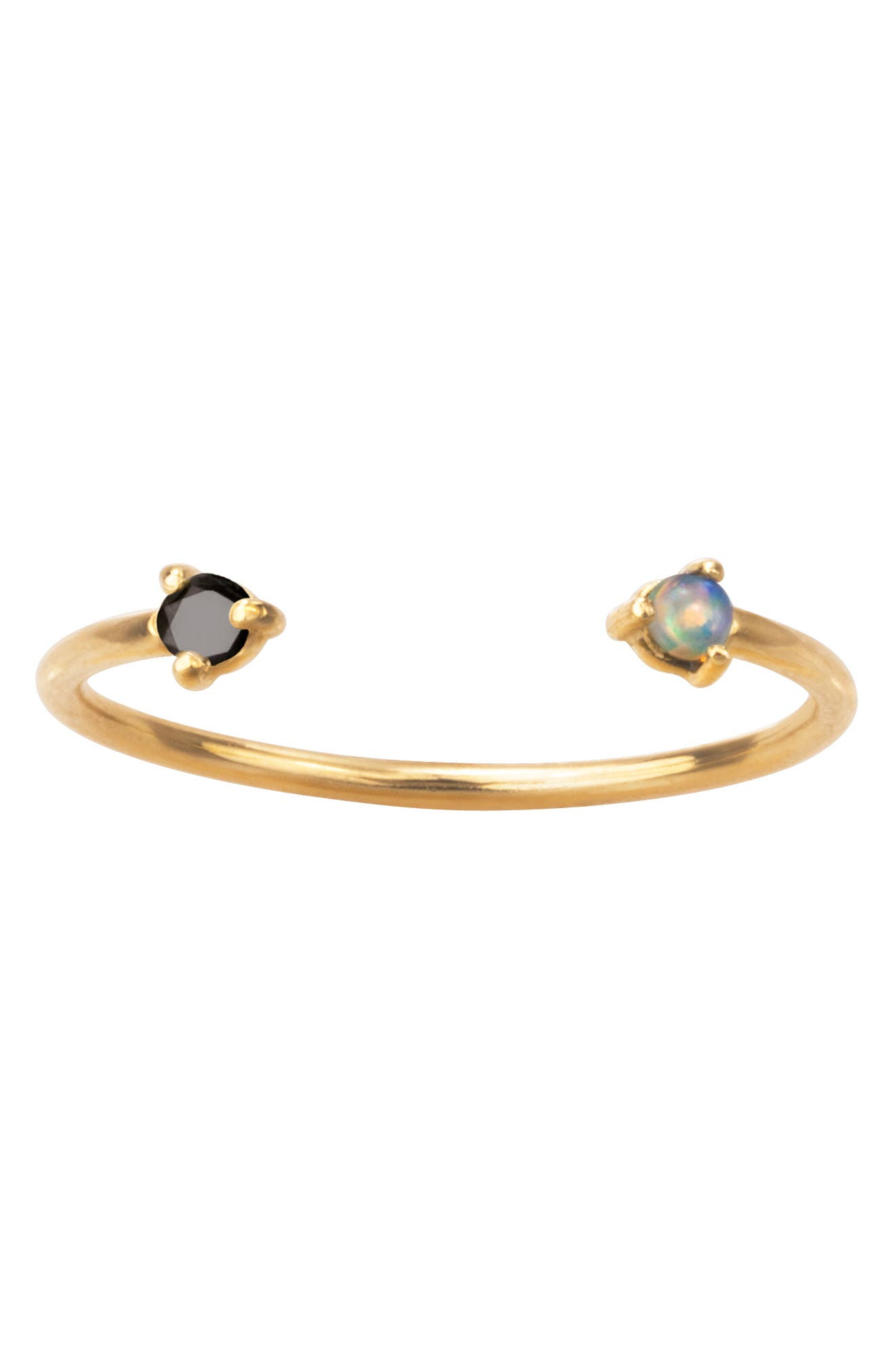 WWAKE Counting Collection Two Step Opal & Black Diamond Ring