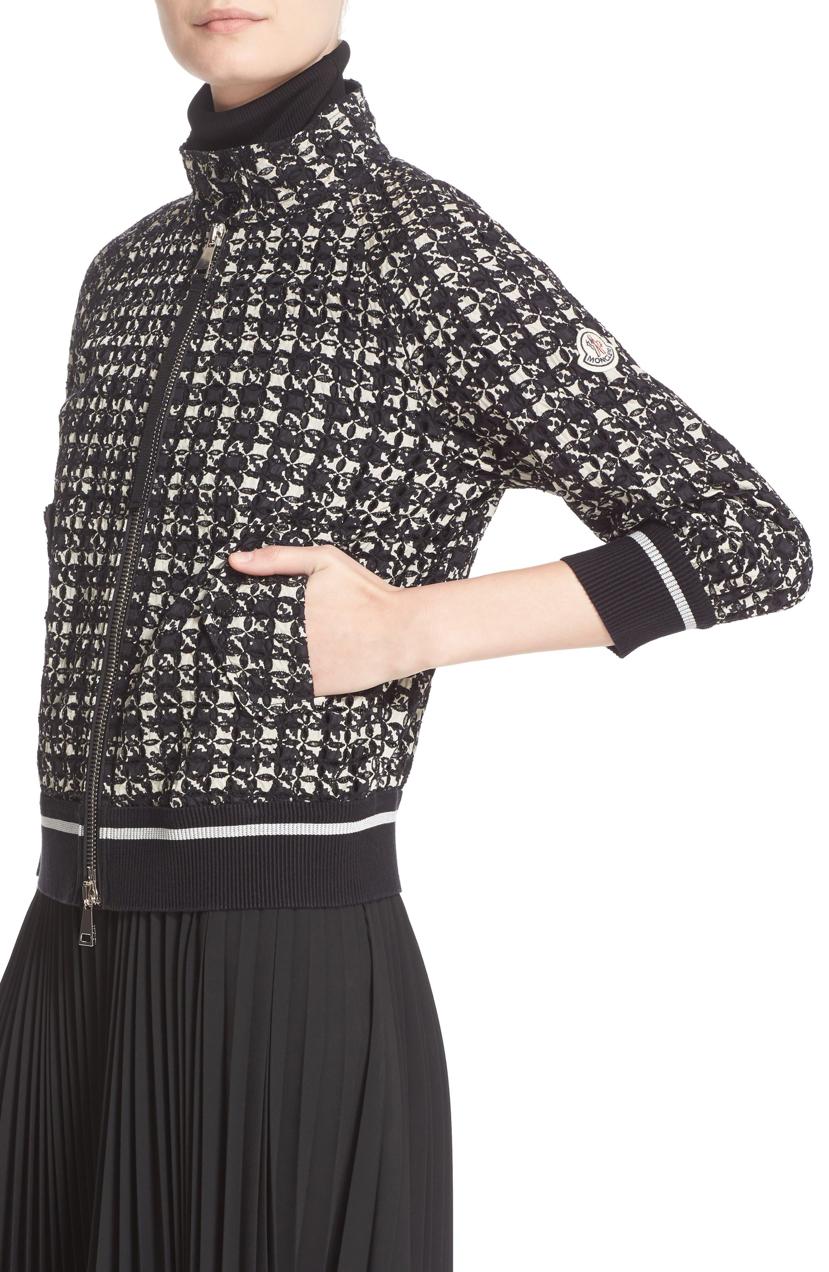 Fiadone Tweed Print Jacket,                             Alternate thumbnail 5, color,                             Black