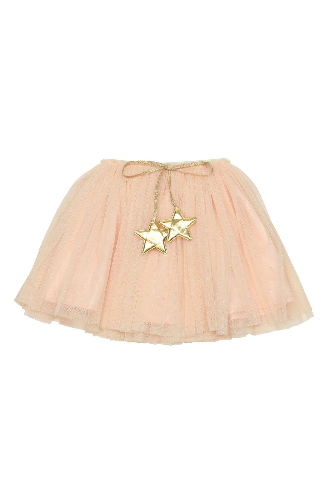 Gold Star Tutu Skirt,                         Main,                         color, Peach