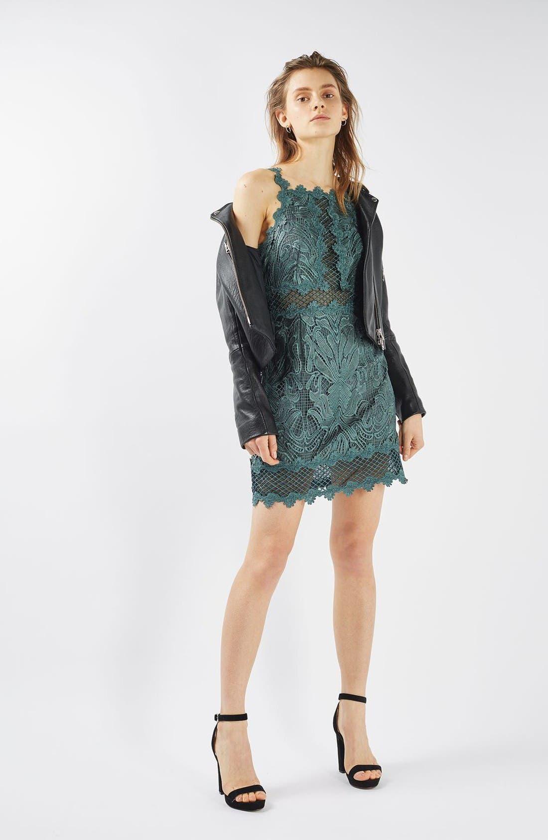 Alternate Image 2  - Topshop Lace Detail Sleeveless A-Line Dress (Regular & Petite)