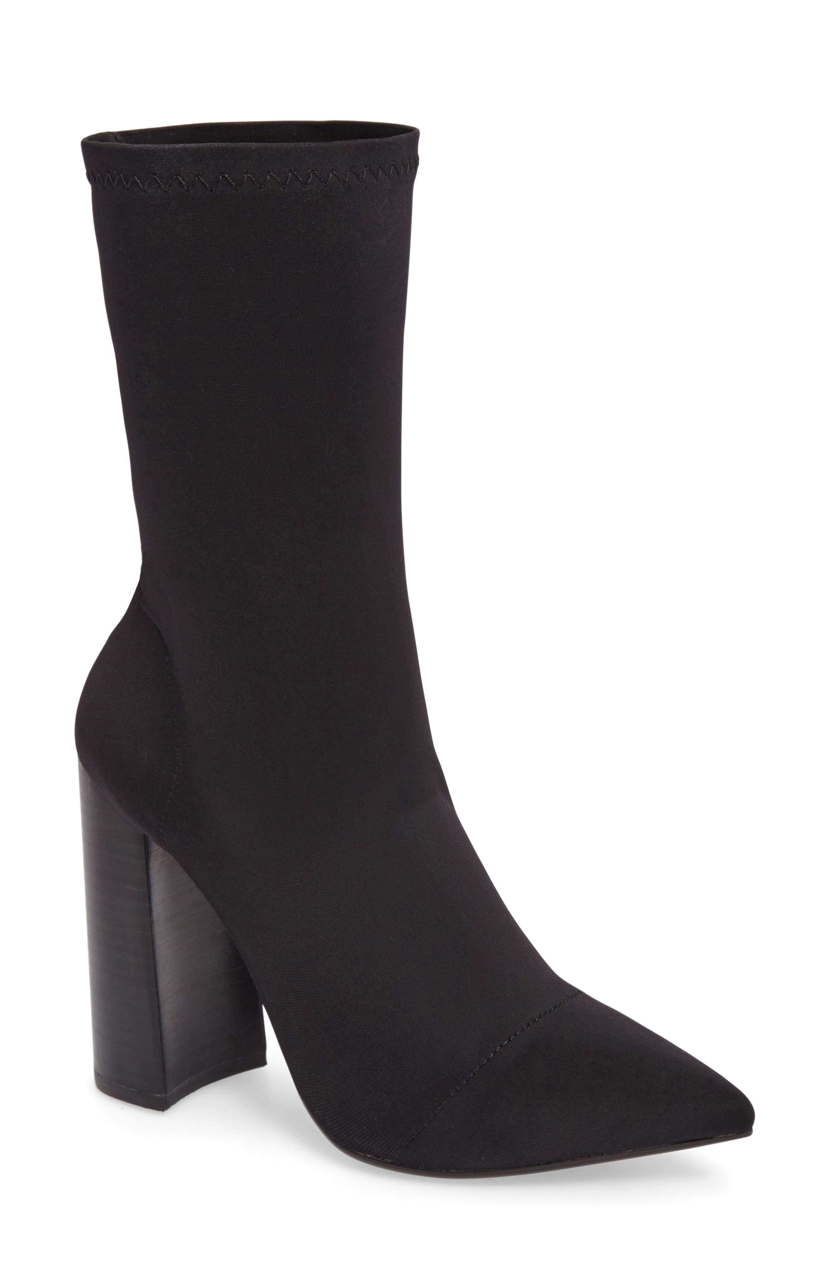TONY BIANCO Diddy Velvet Bootie in Black Lycra