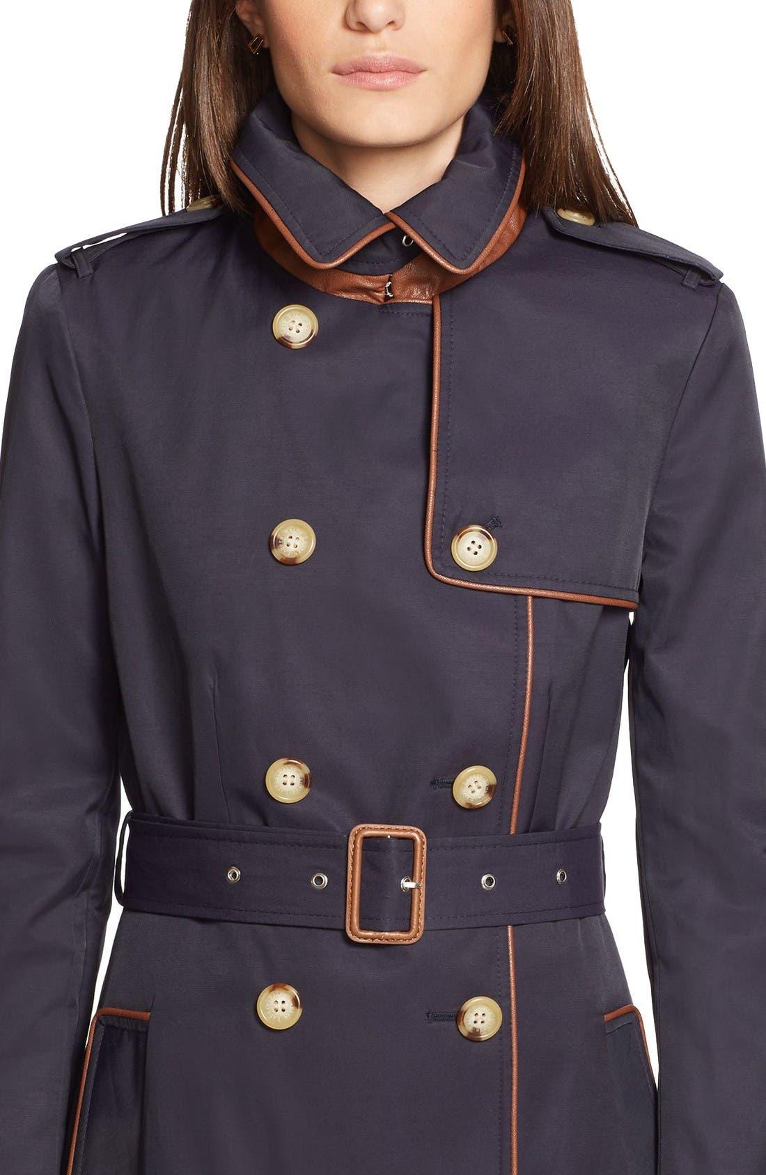 Alternate Image 3  - Lauren Ralph Lauren Faux Leather Trim Trench Coat (Regular & Petite)