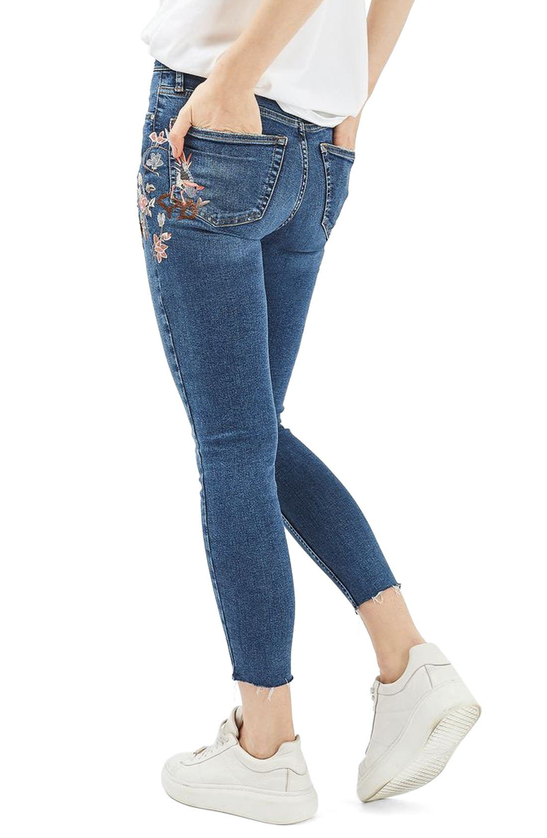 Moto Jamie Embroidered Skinny Jeans,                             Alternate thumbnail 3, color,                             Mid Denim