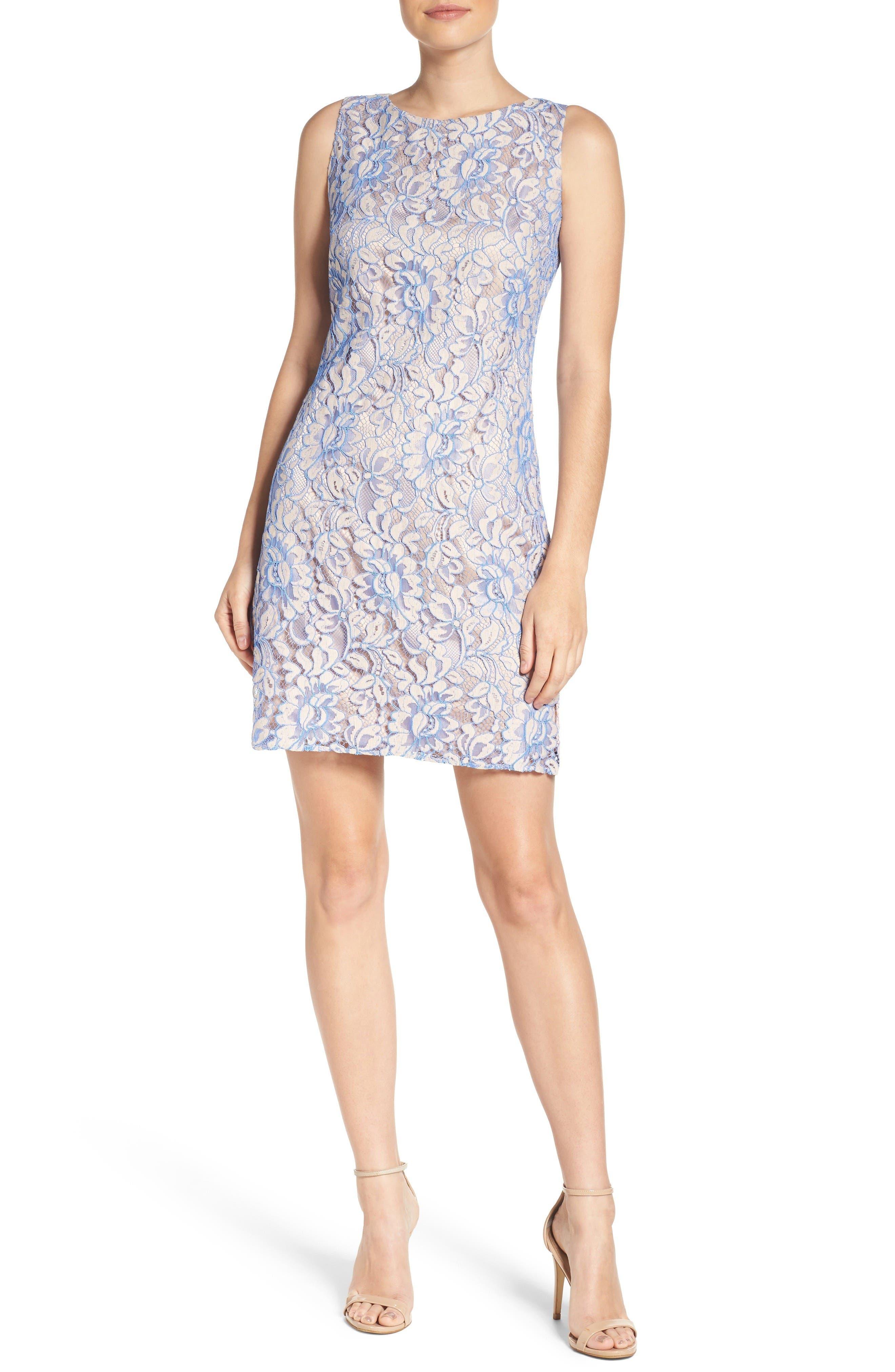 Lace Shift Dress,                             Alternate thumbnail 3, color,                             Nude/ Blue