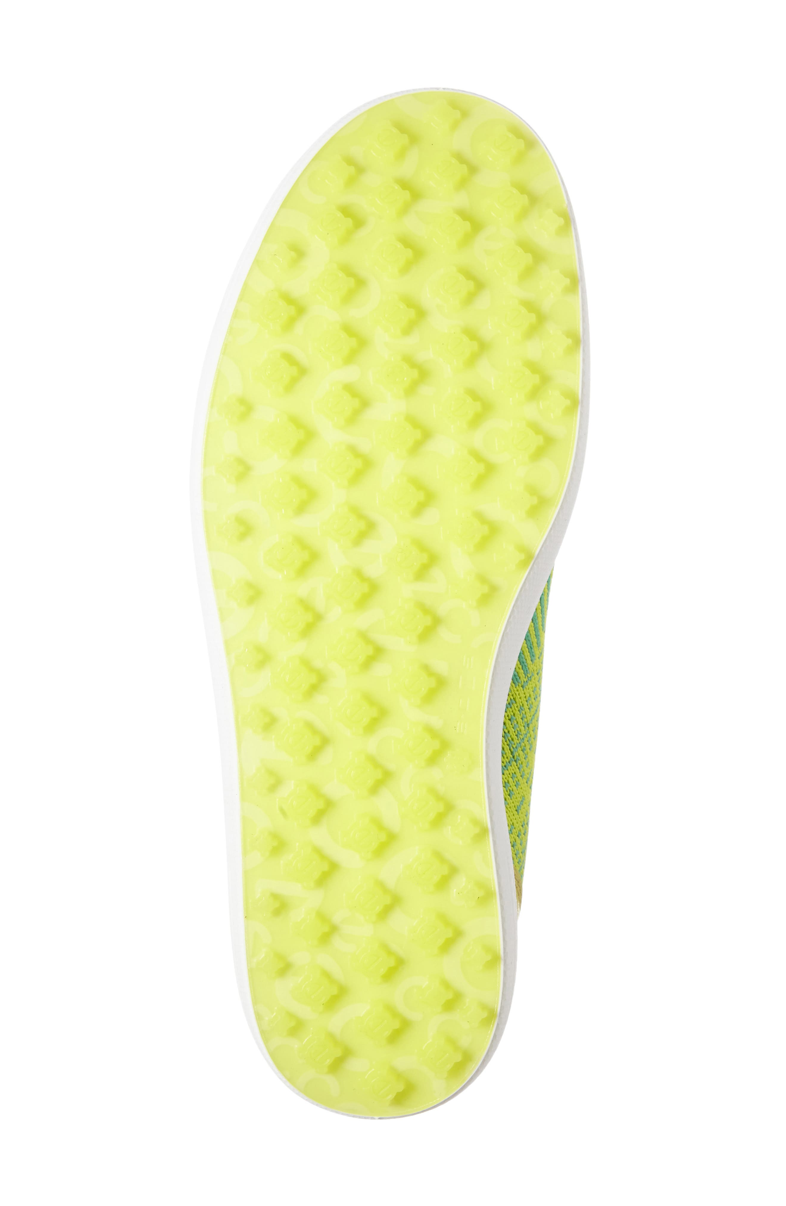 Casual Hybrid Knit Golf Sneaker,                             Alternate thumbnail 4, color,                             Lime Punch/ Neon Leather