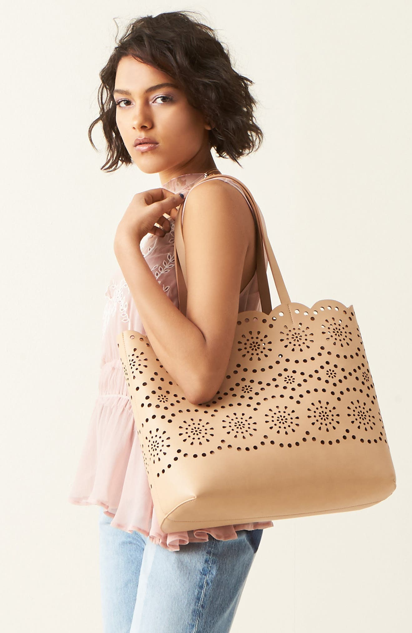 Alternate Image 7  - Chelsea28 Lily Scallop Faux Leather Tote