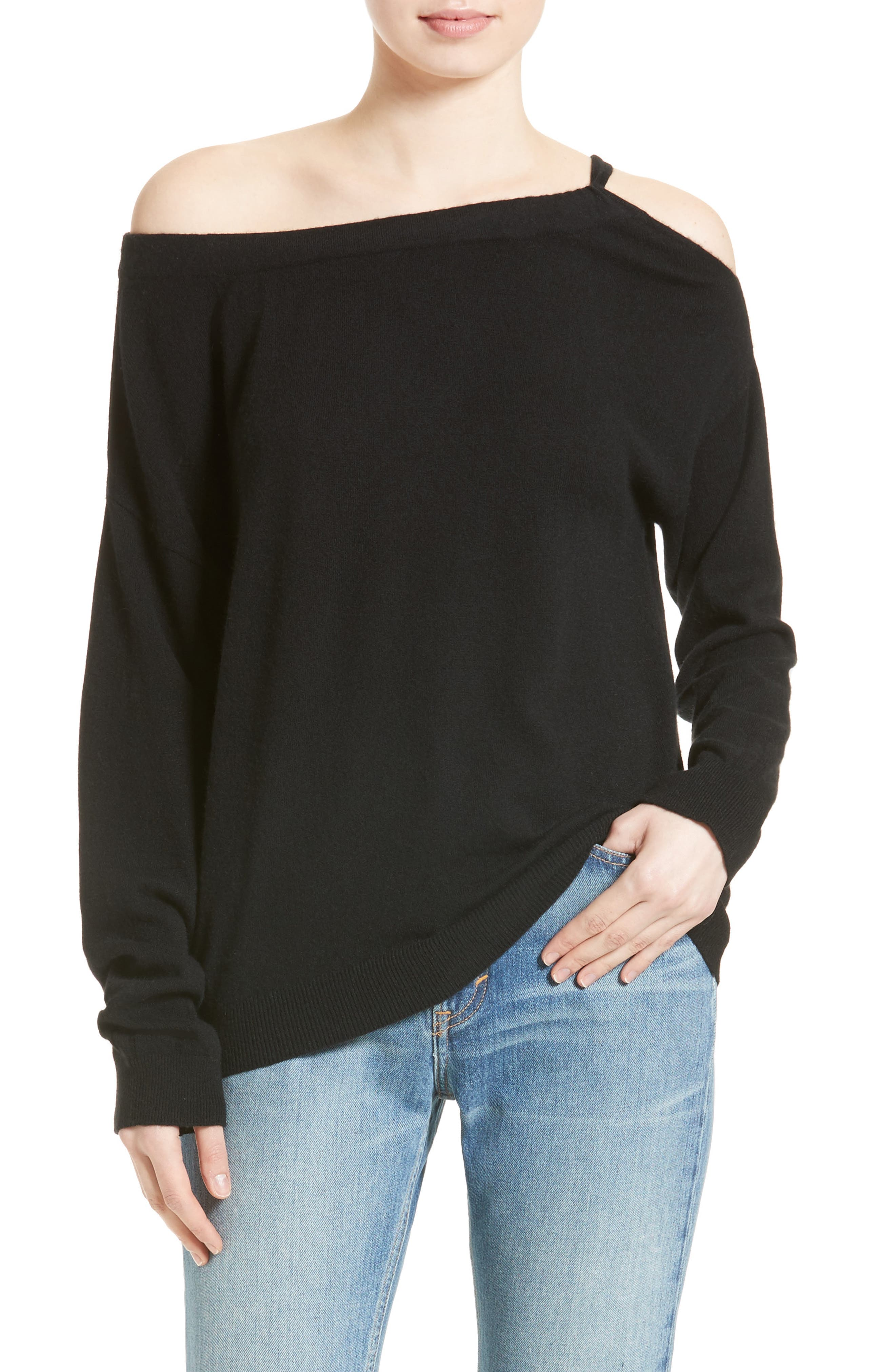Main Image - Vince Convertible Cold Shoulder Cashmere Sweater