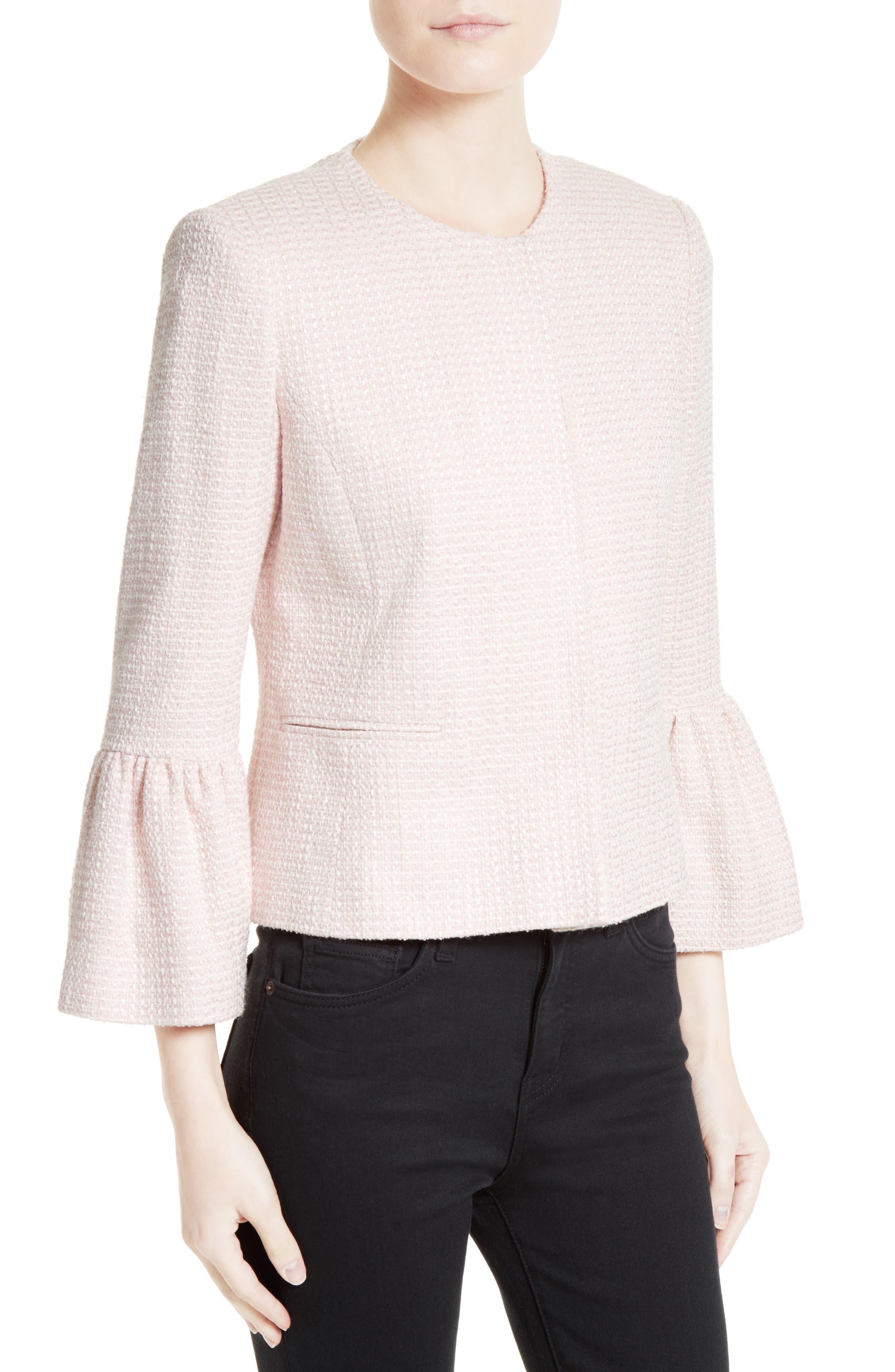 Tweed Jacket,                             Alternate thumbnail 3, color,                             Pale Pink/ Ivory