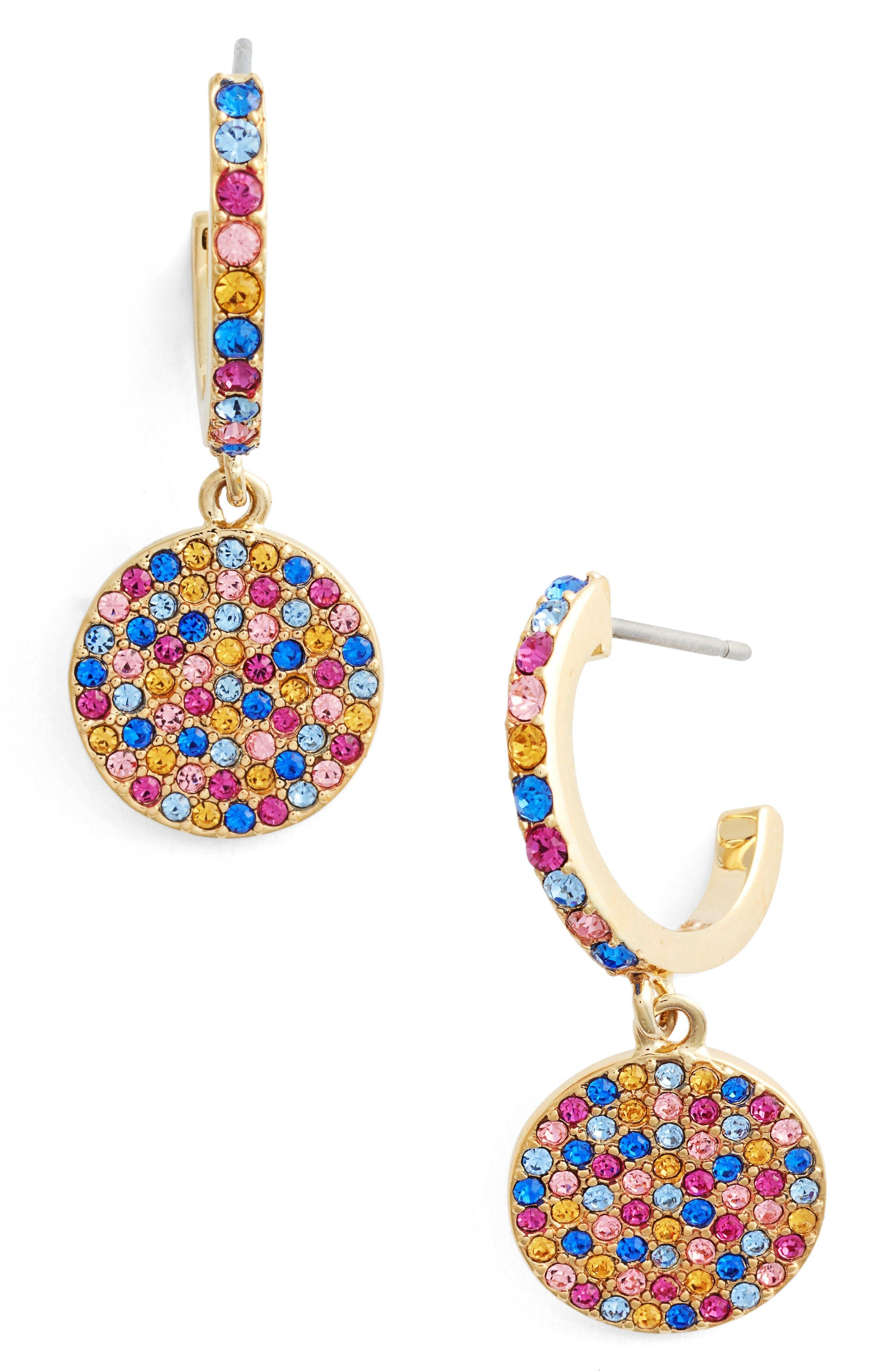 shine on pavé drop earrings,                         Main,                         color, Gold/ Multi