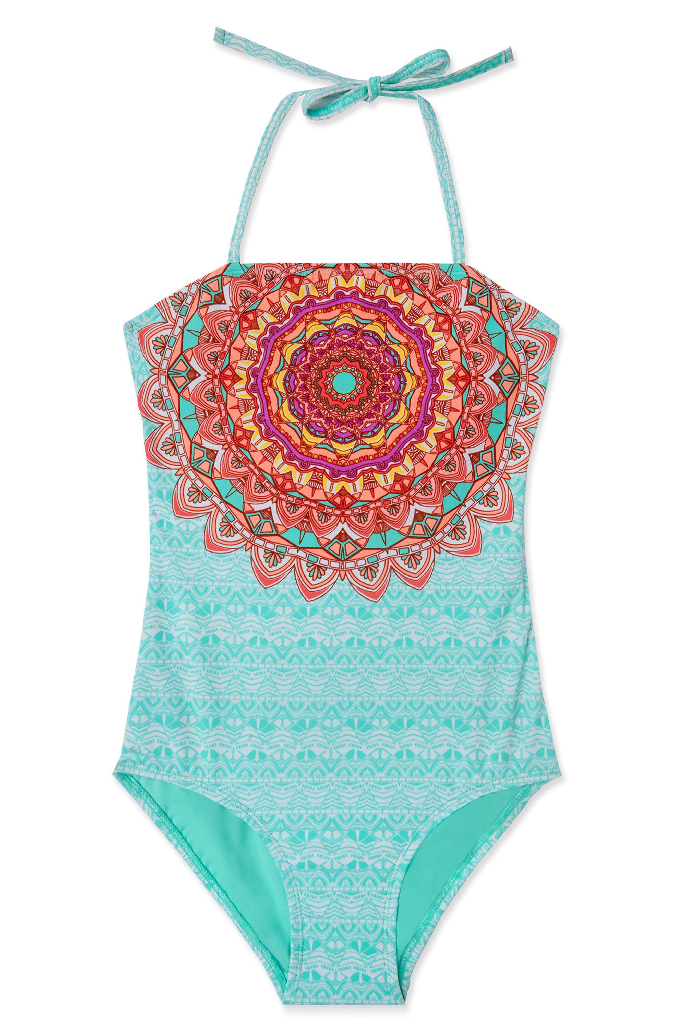 La Bayadere One-Piece Swimsuit,                         Main,                         color, Mint