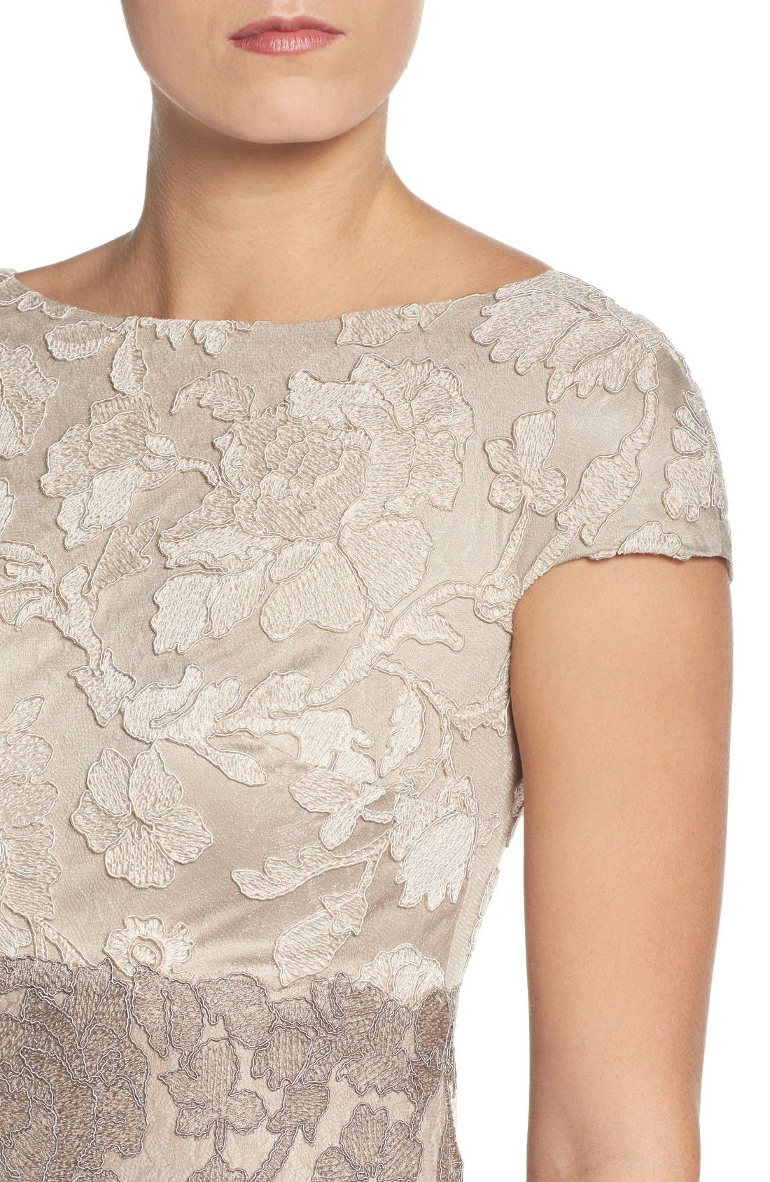 Alternate Image 4  - Tadashi Shoji Floral Embroidered Gown