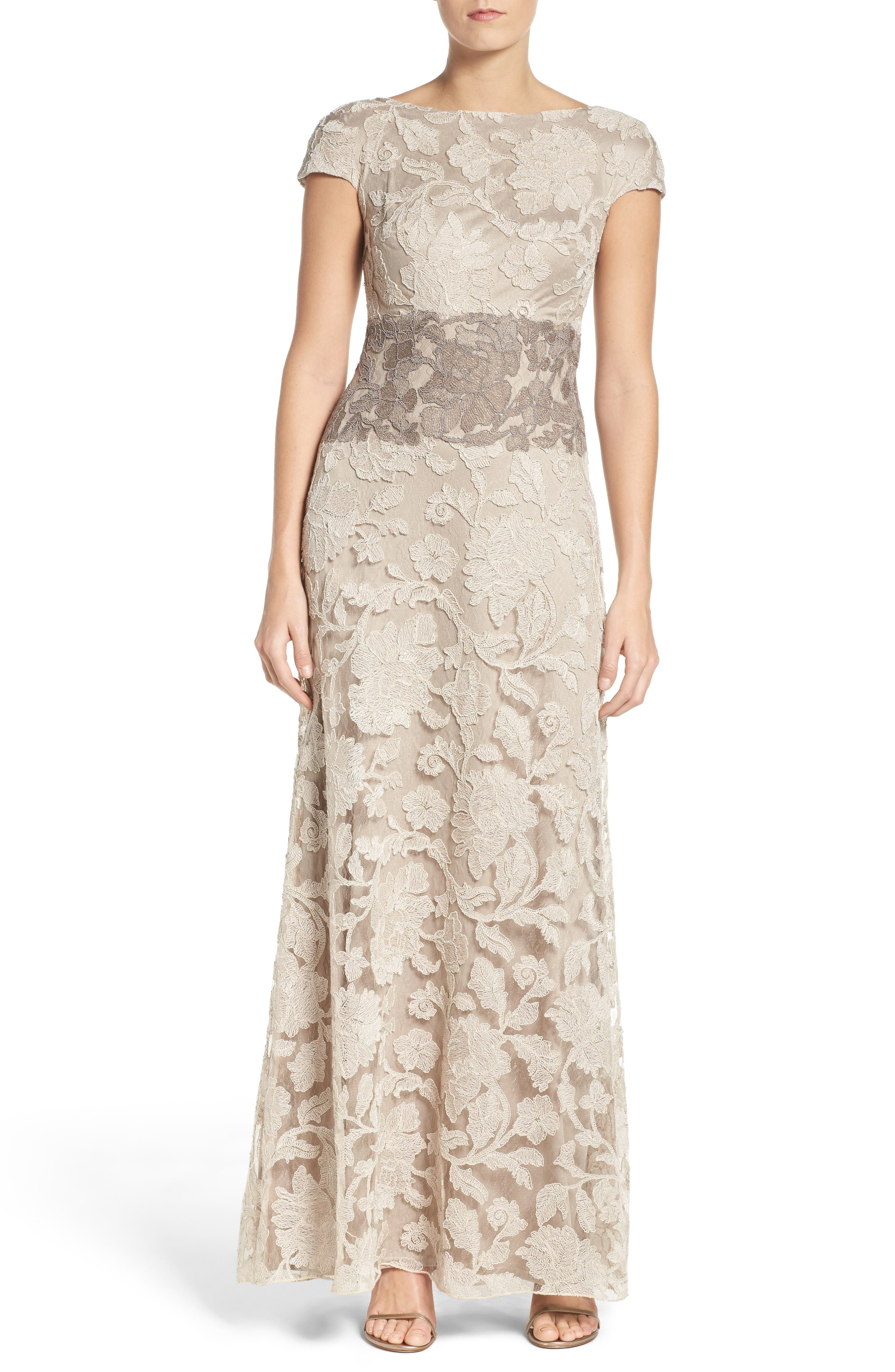 Floral Embroidered Gown,                         Main,                         color, Latte/ Pumice