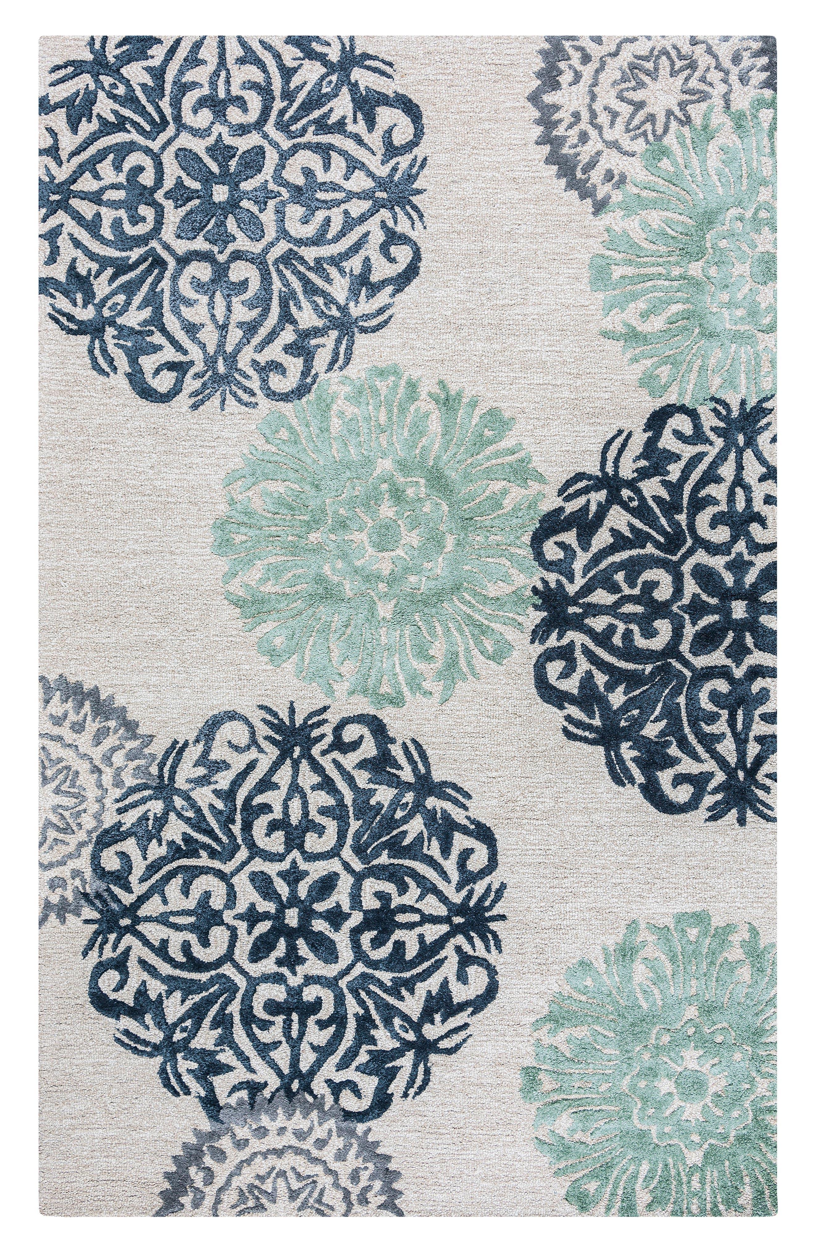 'Eden Harbor' Hand Tufted Wool Area Rug,                         Main,                         color, Navy/ Aqua/ Grey