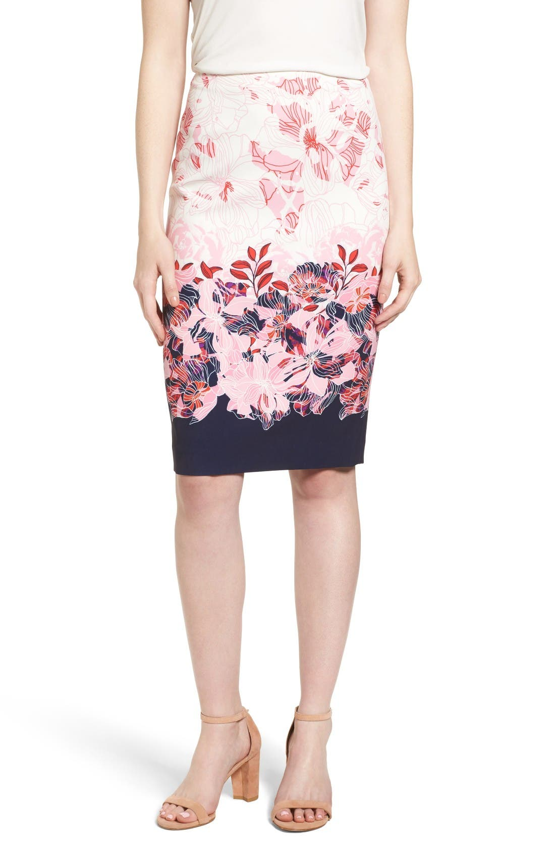 Main Image - Halogen® Floral Print Pencil Skirt (Regular & Petite)