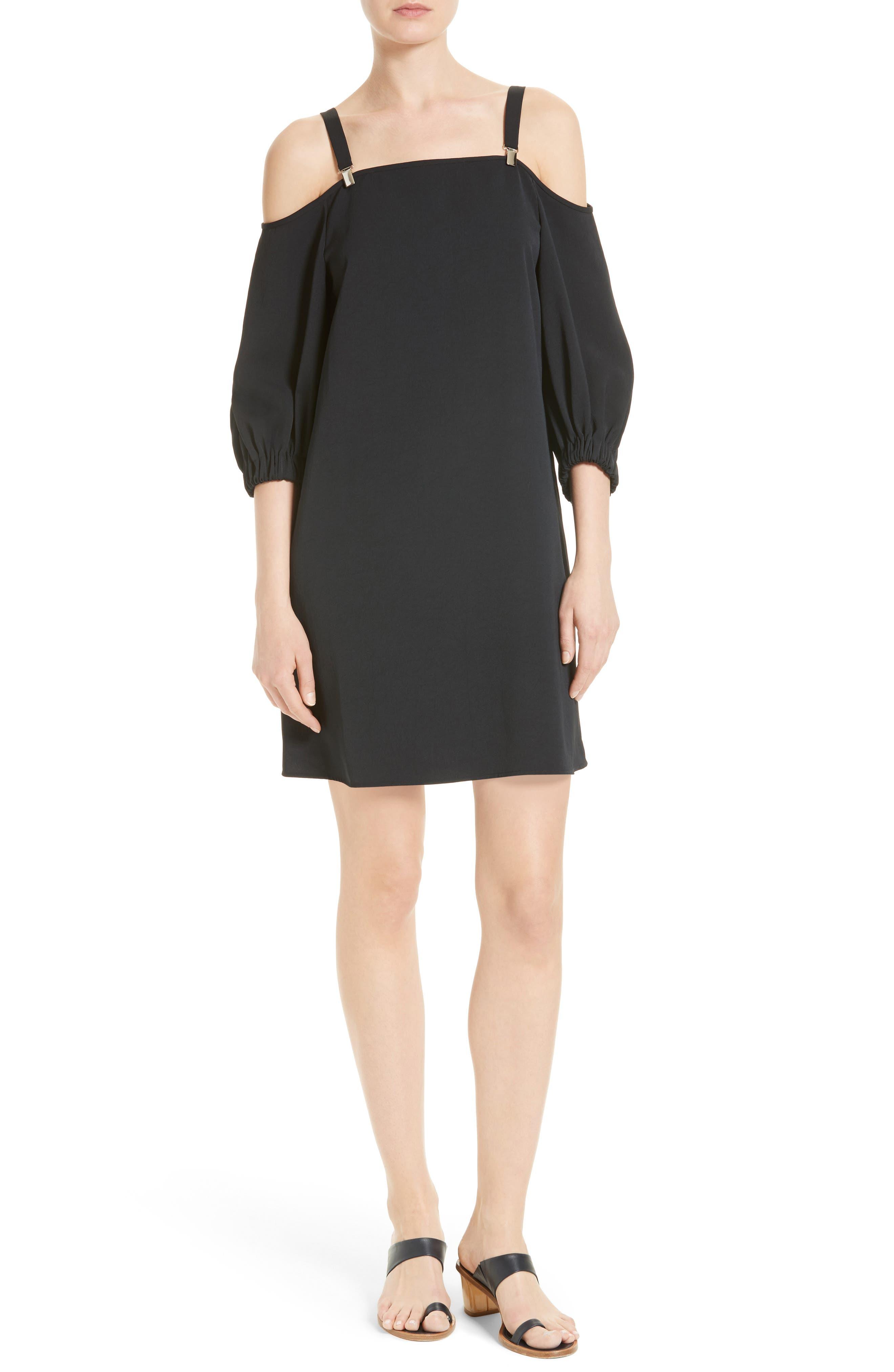 Cold Shoulder Suspender Shift Dress,                         Main,                         color, Black