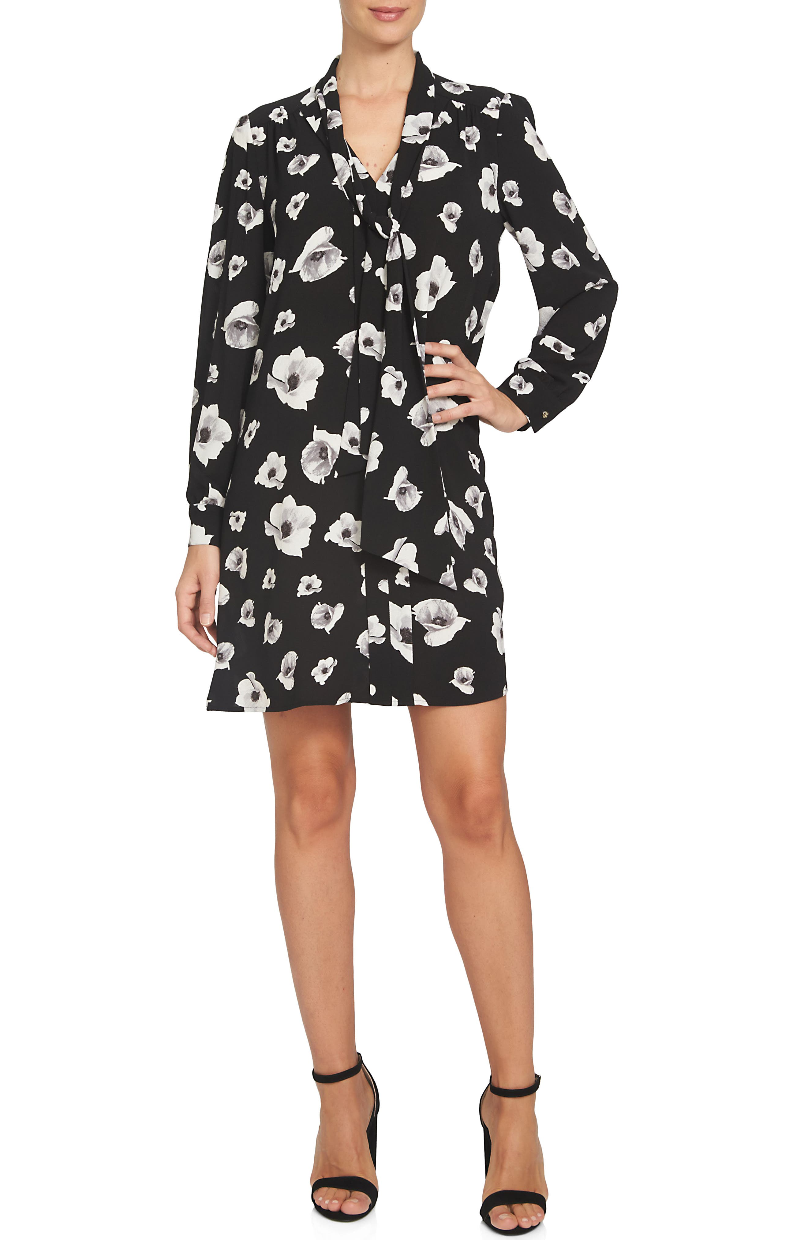 Floating Flower Bells Tie Neck Dress,                         Main,                         color, Black