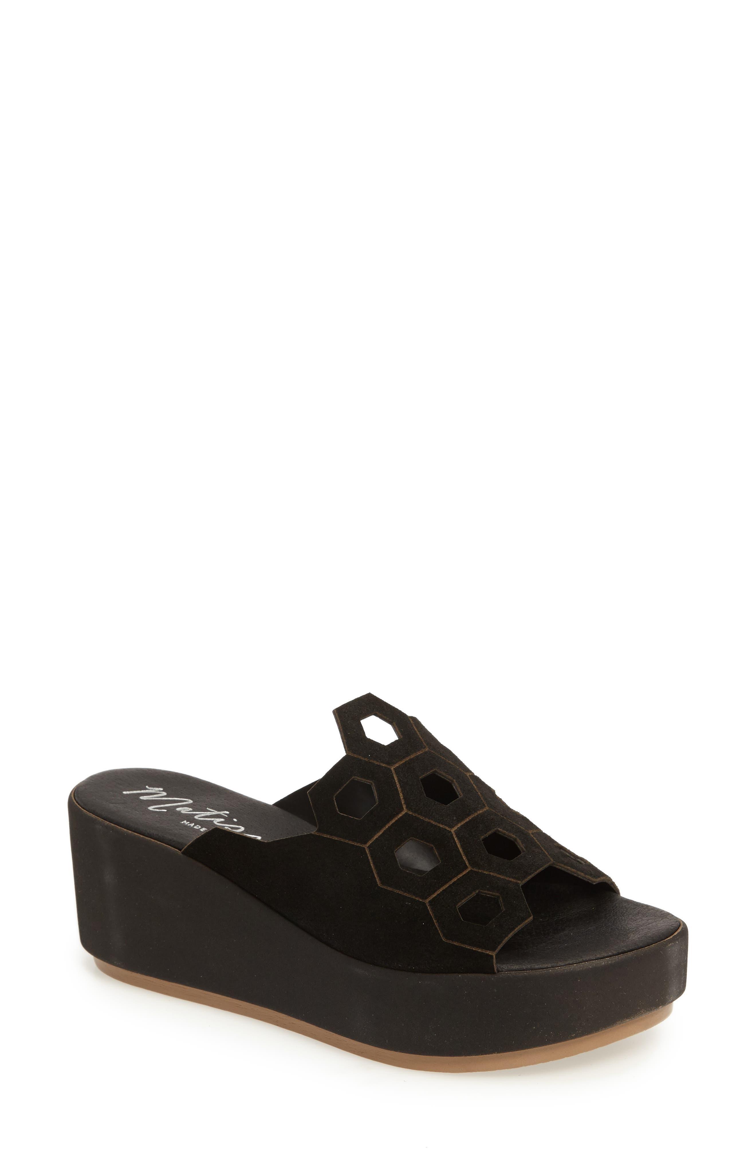 Cabrio Platform Slide,                             Main thumbnail 1, color,                             Black Suede