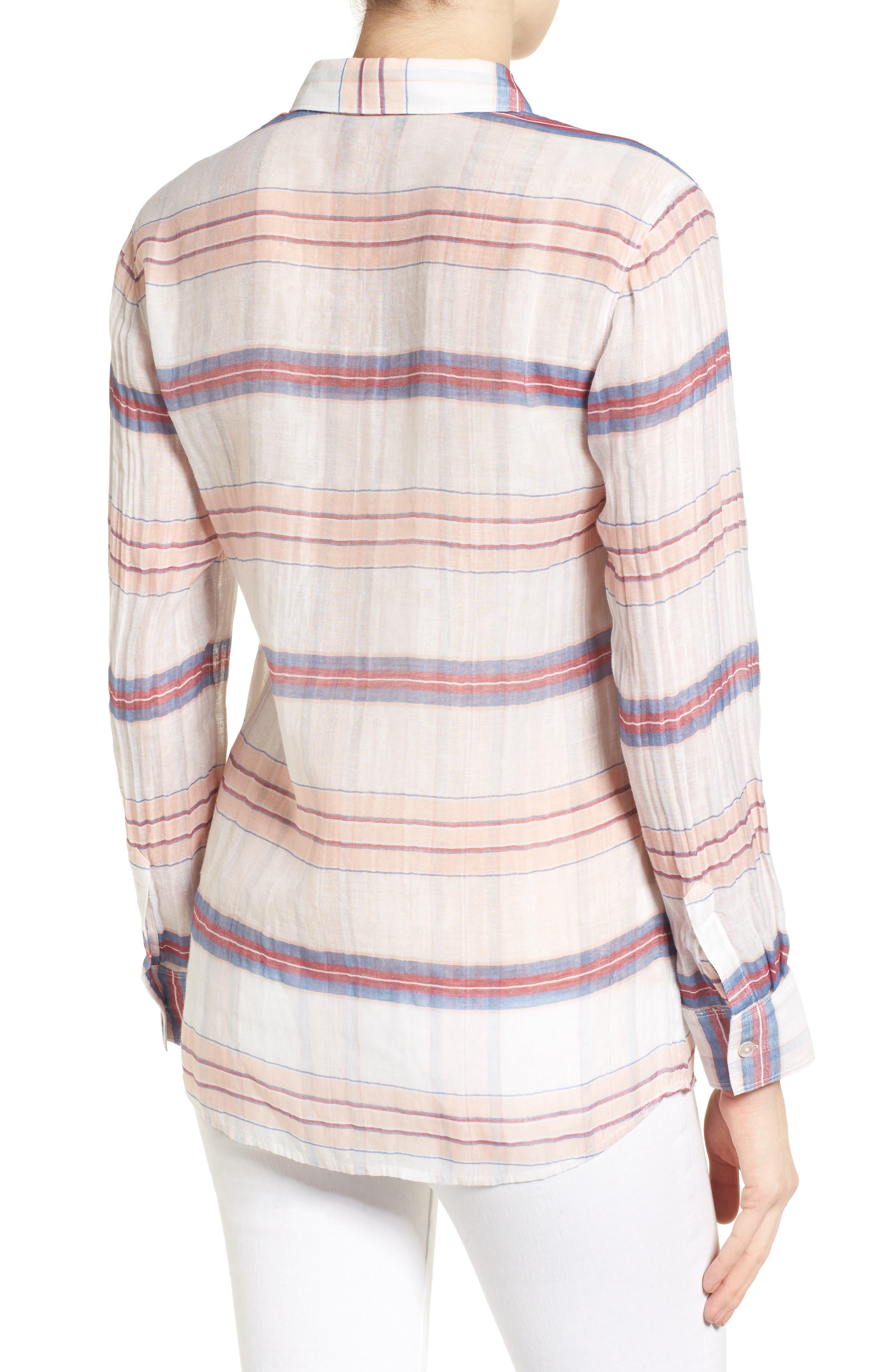 Costas Stripe Cotton & Silk Shirt,                             Alternate thumbnail 2, color,                             White