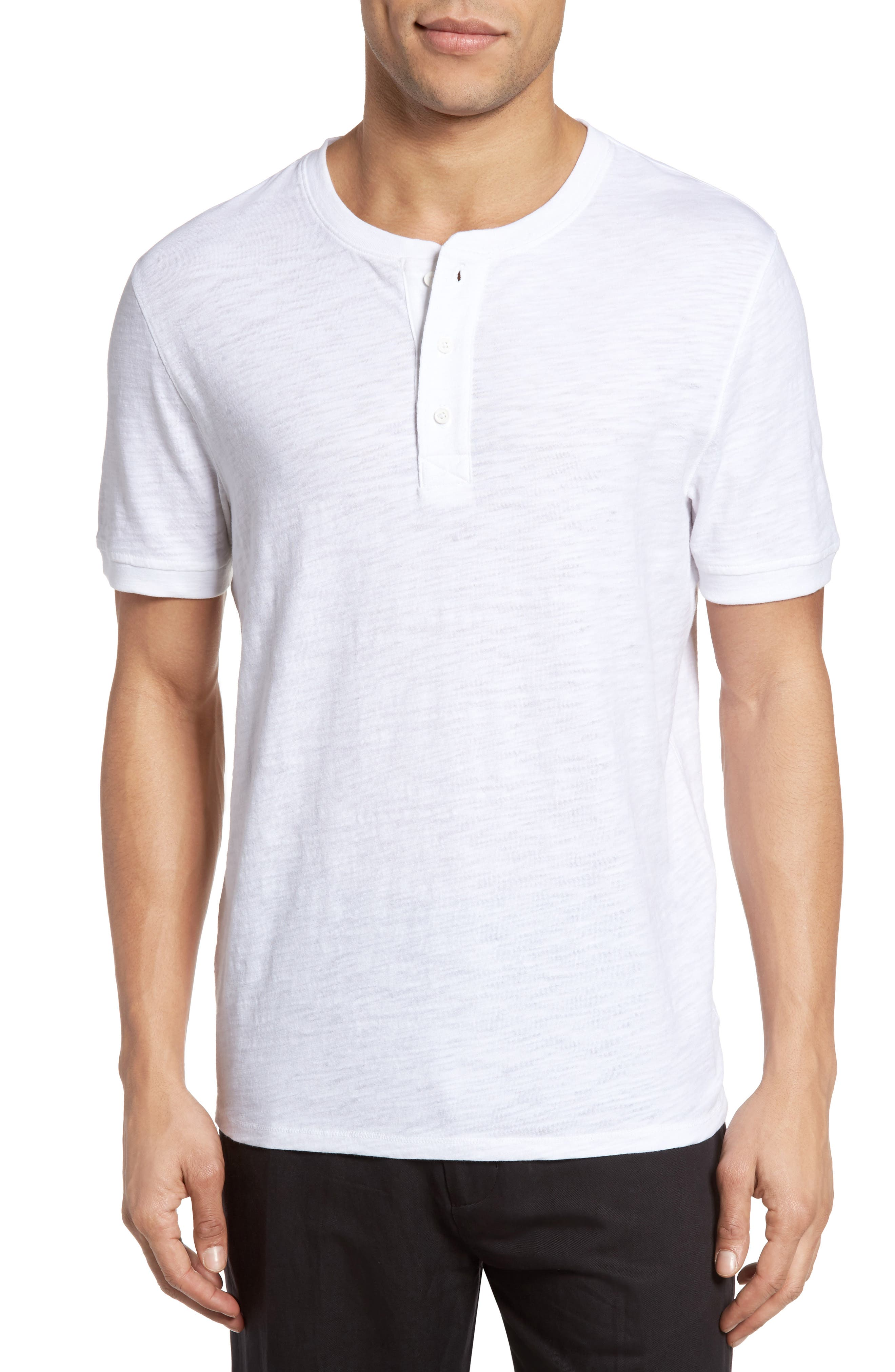 Slub Henley,                             Main thumbnail 1, color,                             White