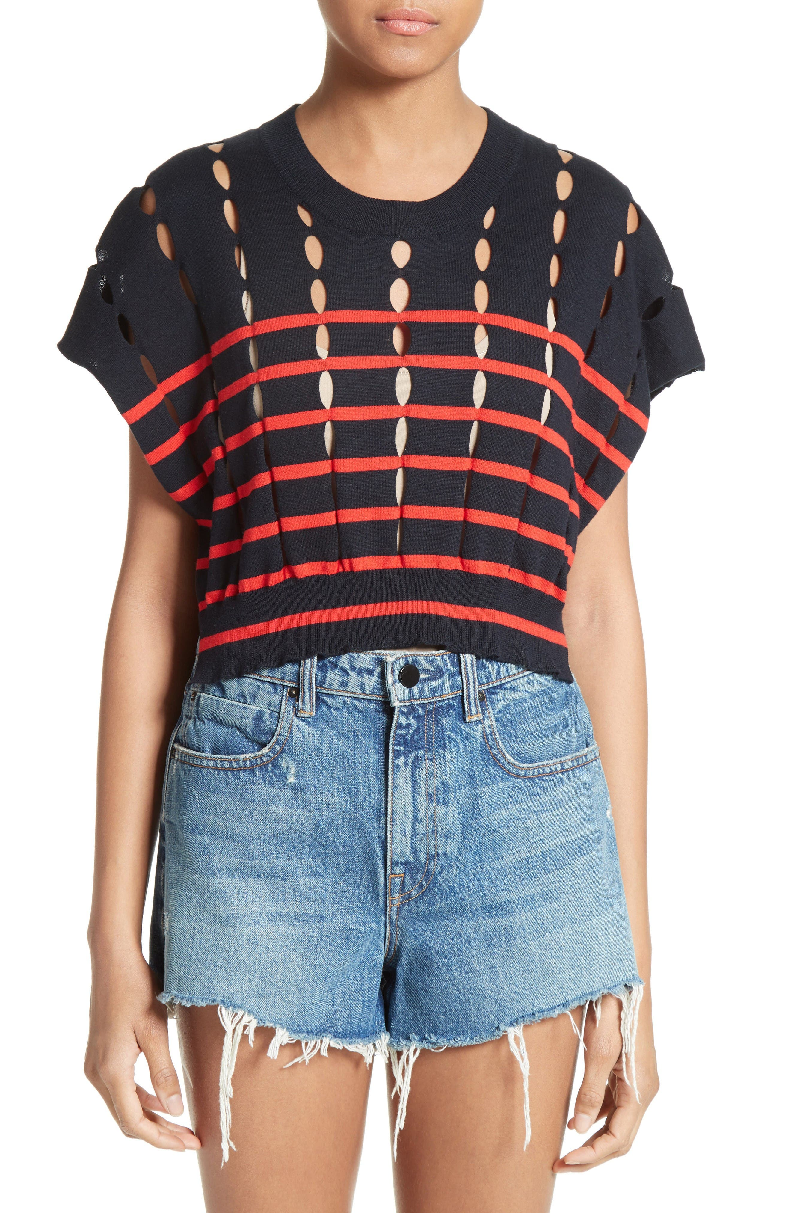 Alternate Image 1 Selected - T by Alexander Wang Stripe Knit Pullover