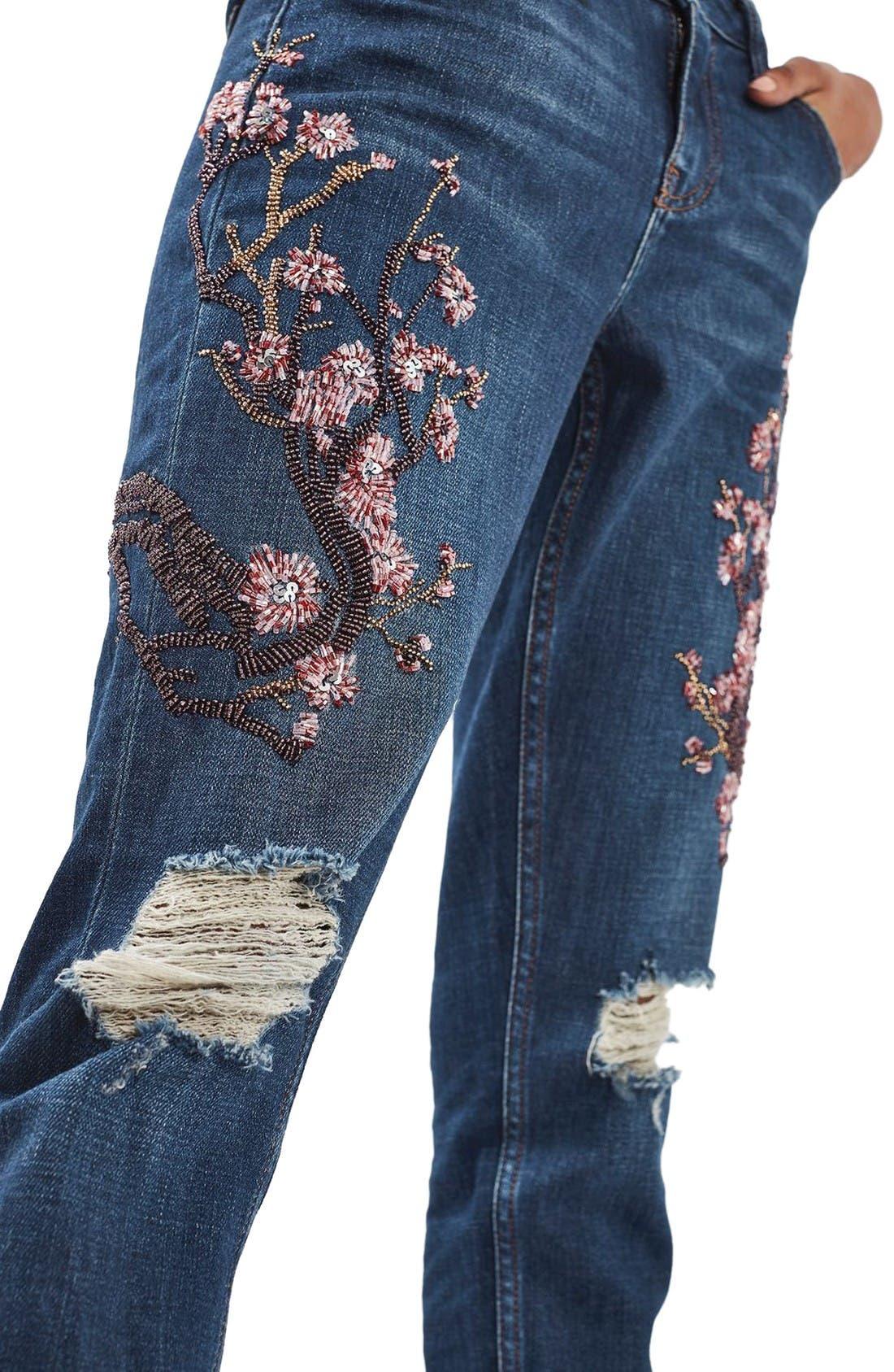 Alternate Image 5  - Topshop Lucas Beaded Boyfriend Jeans (Limited Edition)